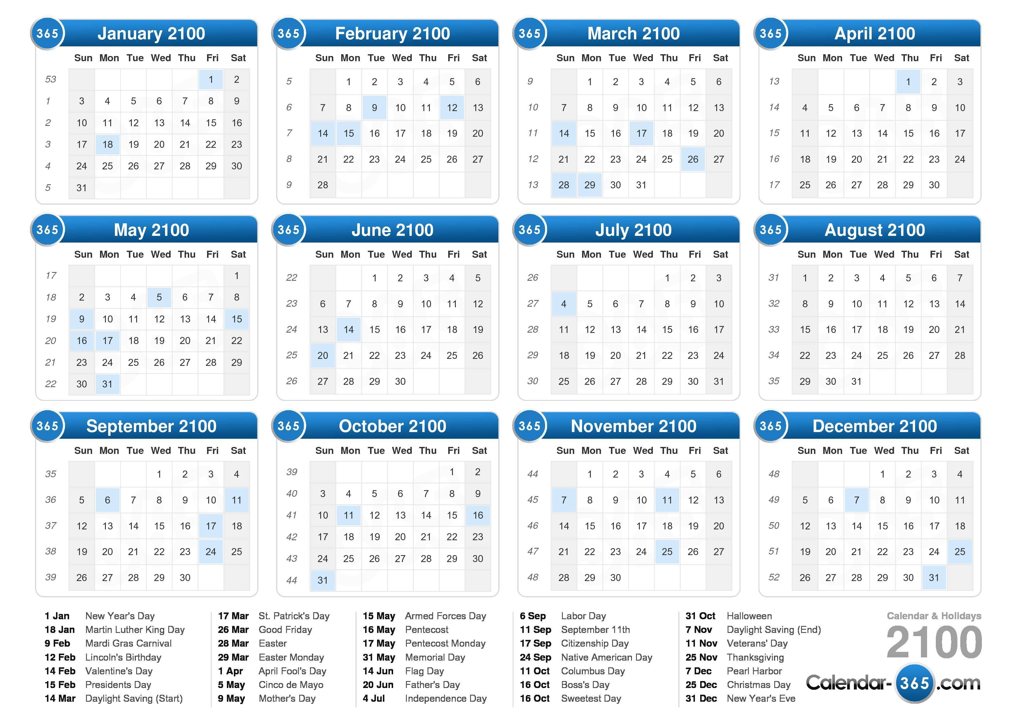 2100 Calendar