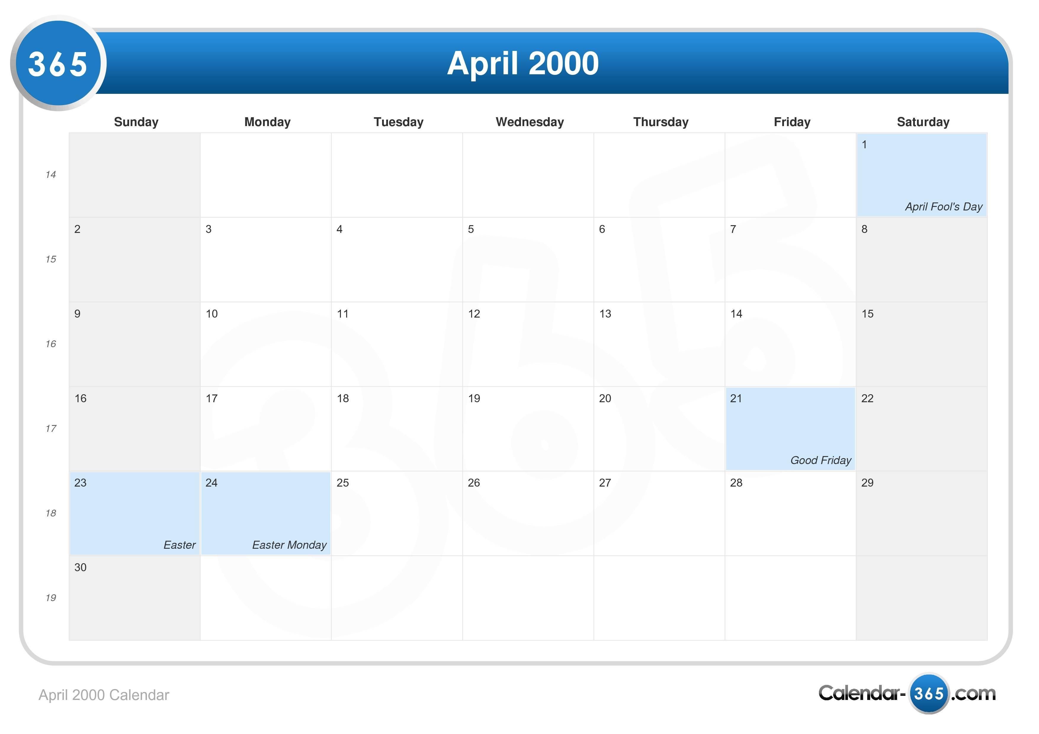April 2000 Calendar