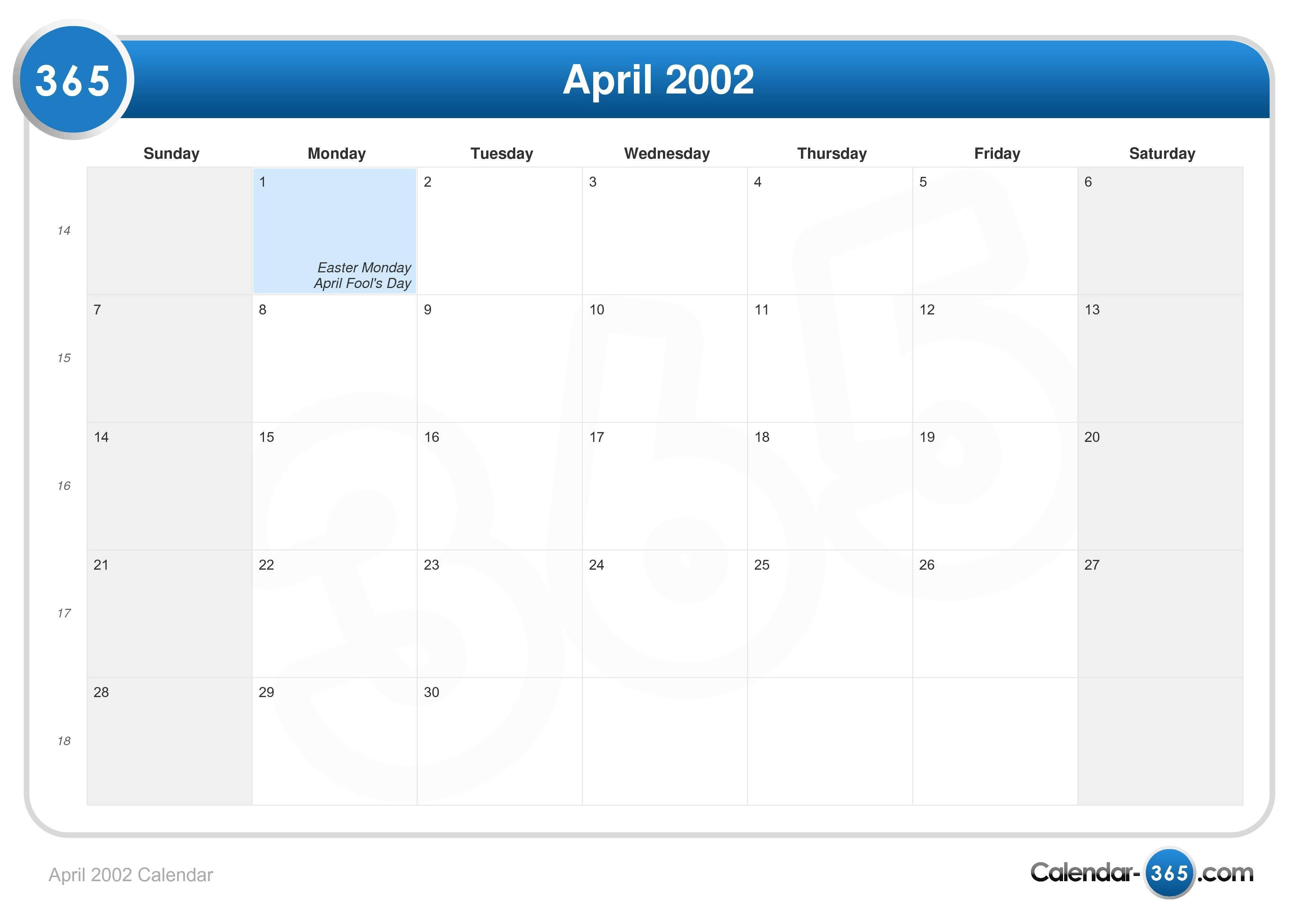 April 2002 Calendar  April 2002 Cale...