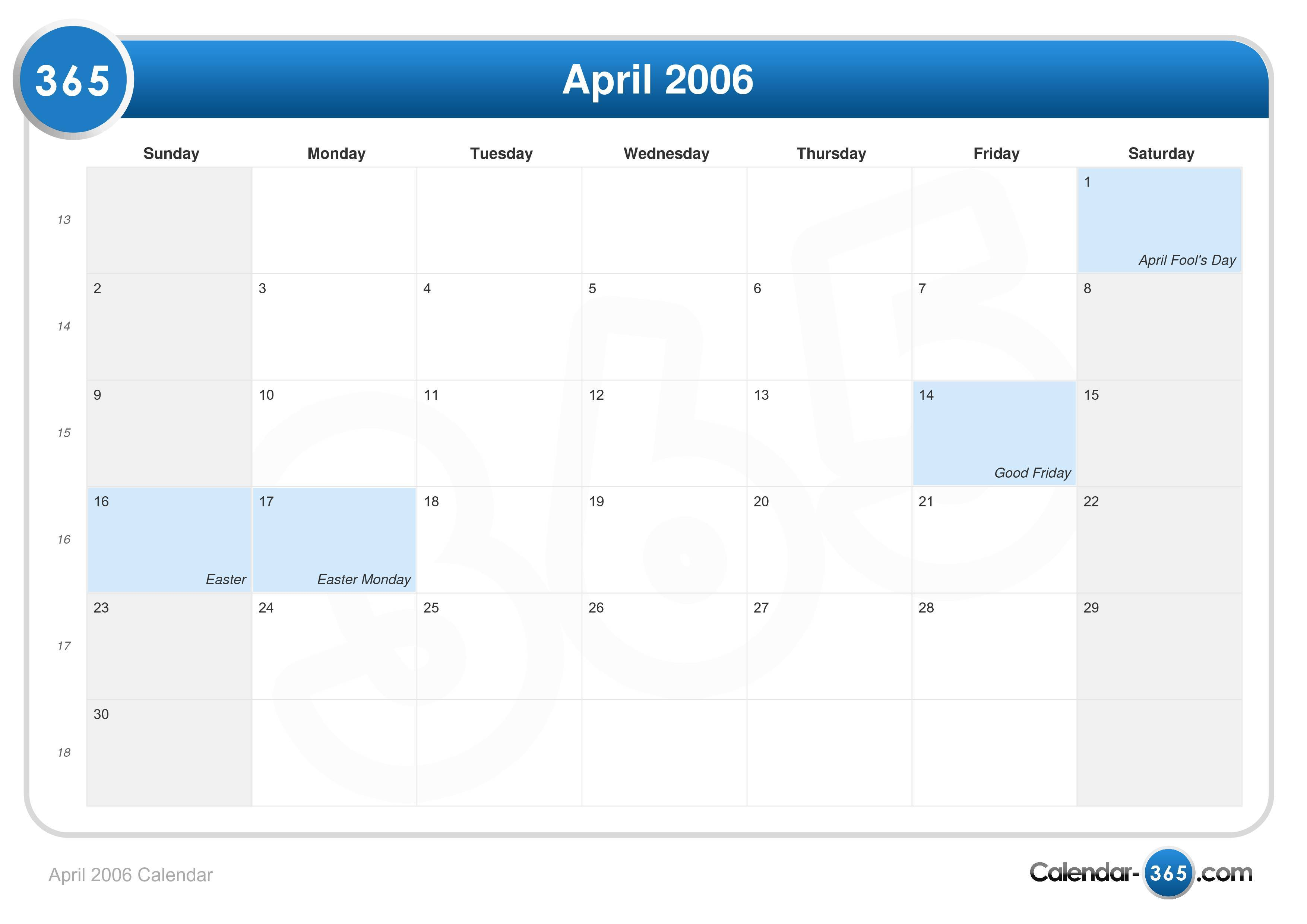 April 2006 Calendar