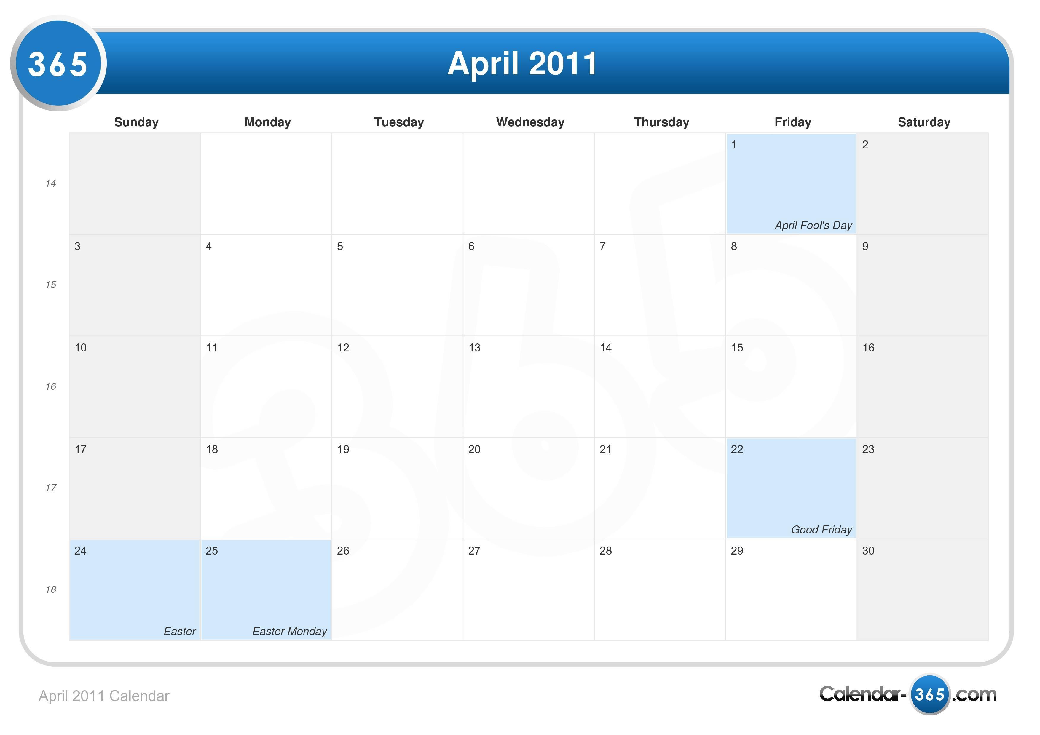 Calendar April 2011 : April calendar easter