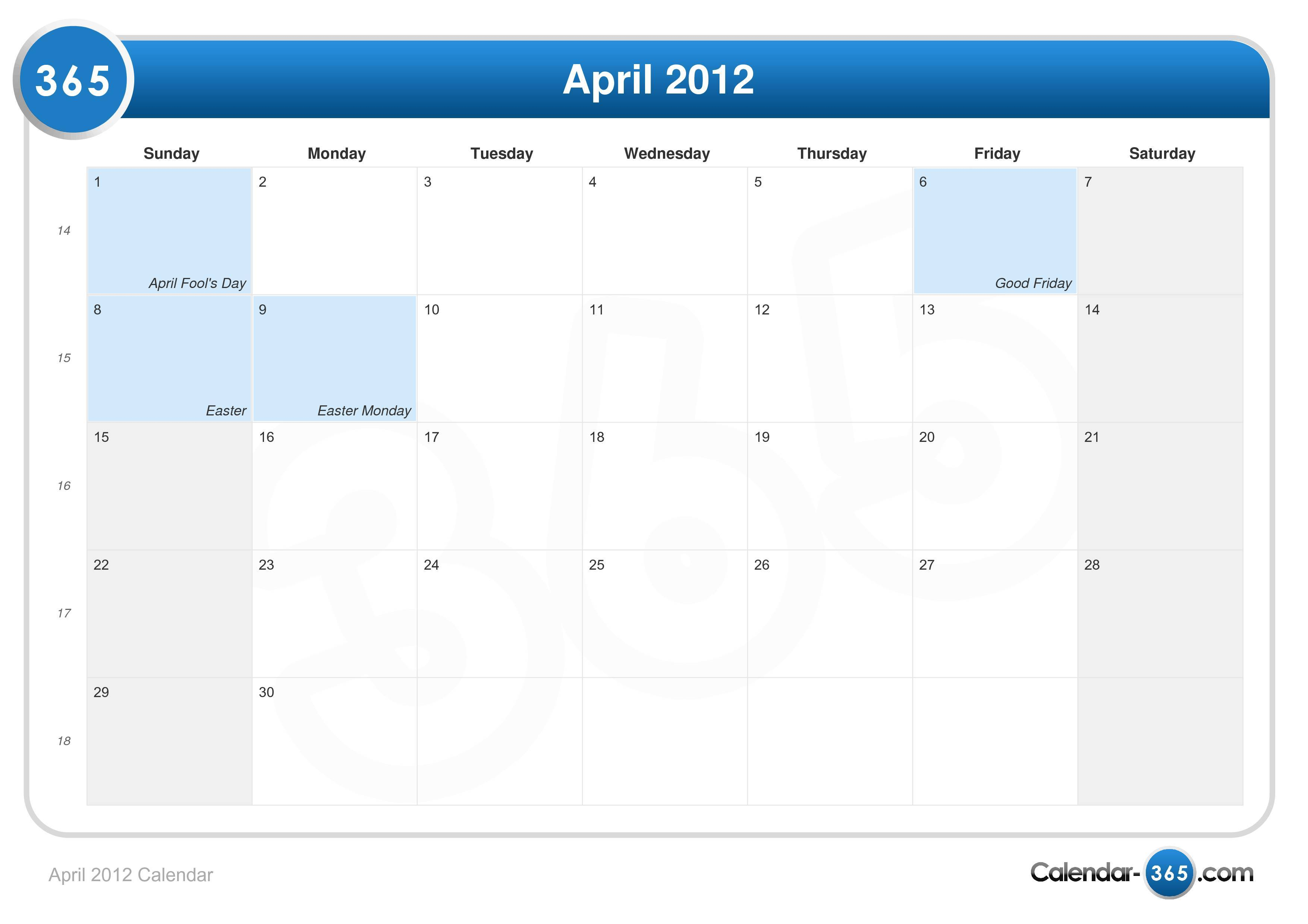 April 2012 Calendar with Holidays - as Picture