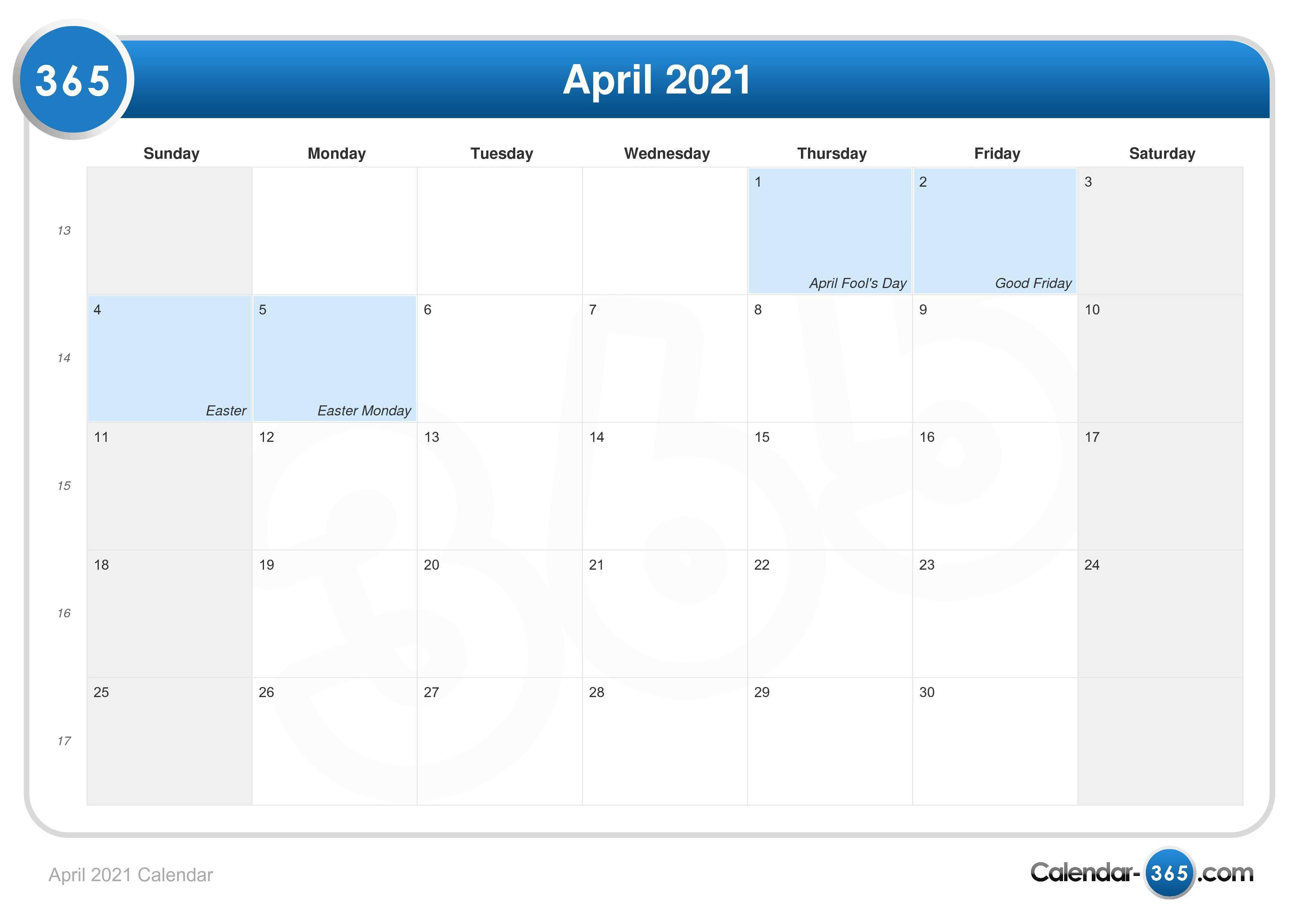 Calendar Easter 2021 April 2021 Calendar