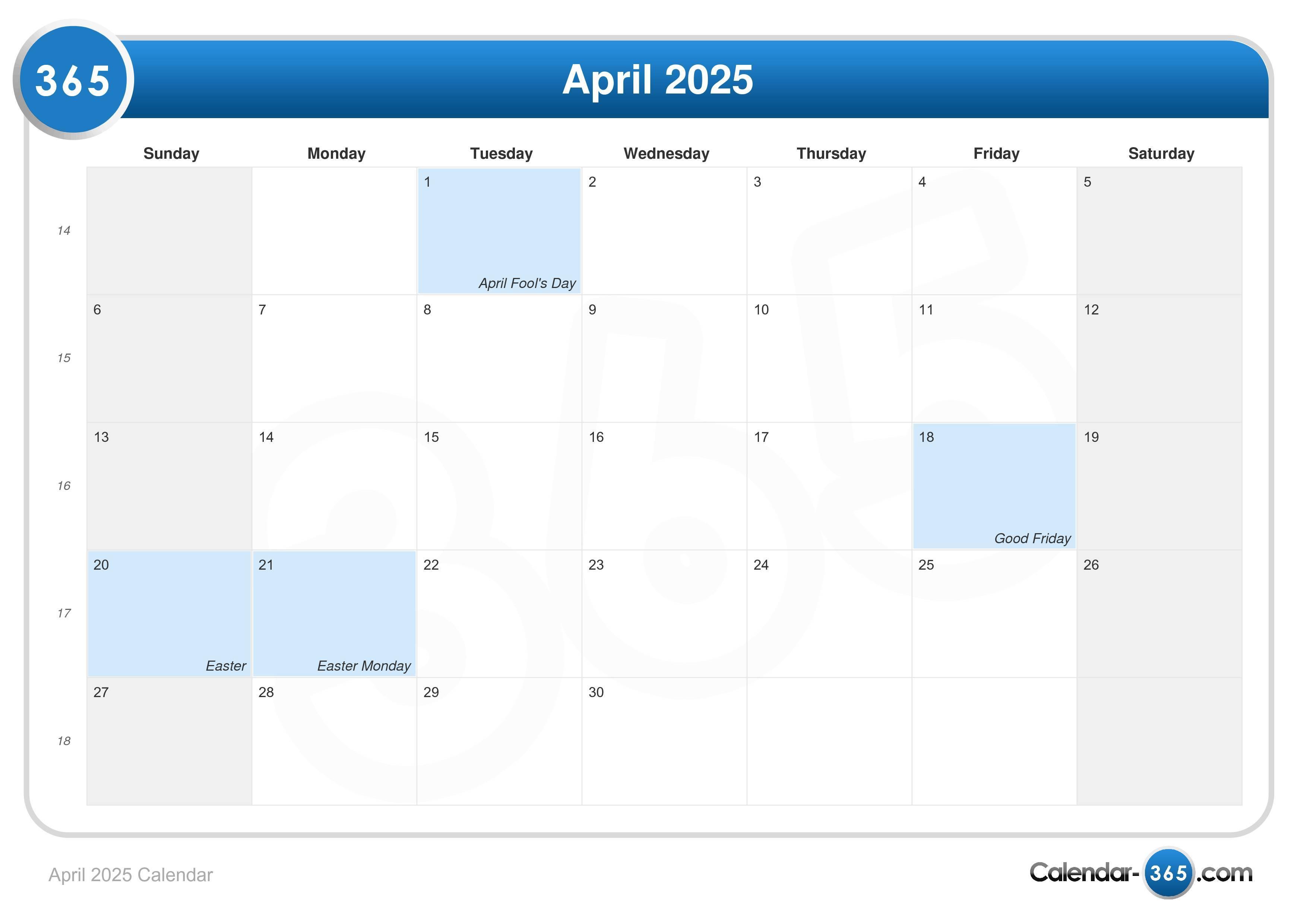 Calendar April Easter : April calendar