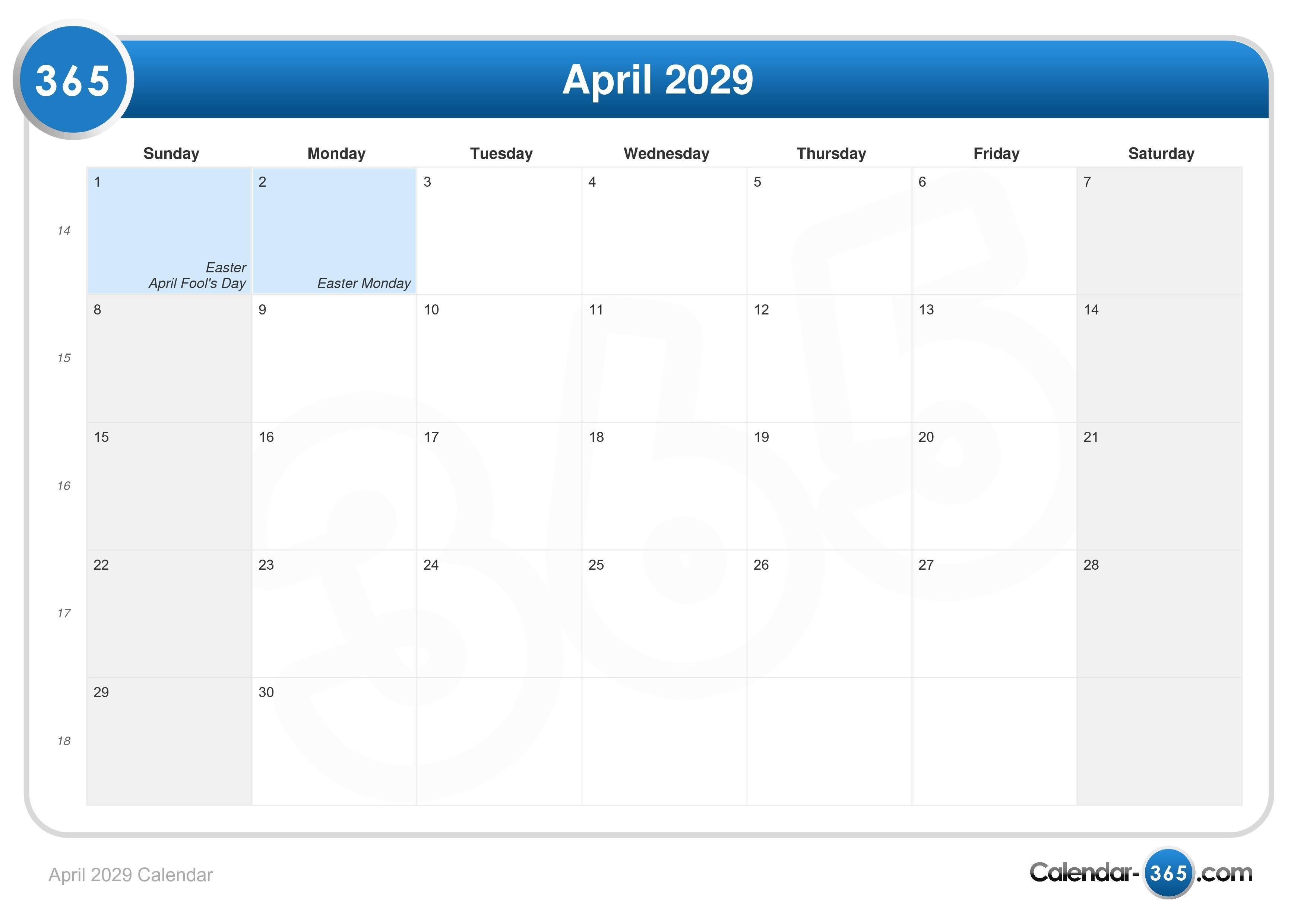 April 2029 Calendar