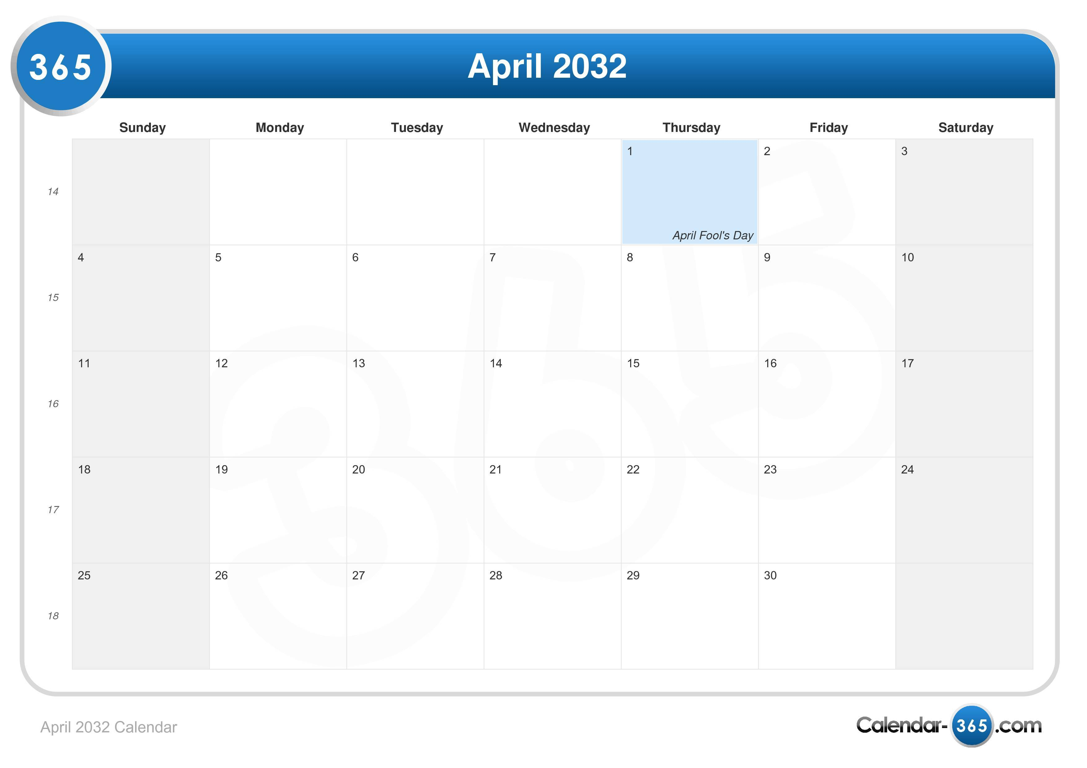 April 2032 Calendar