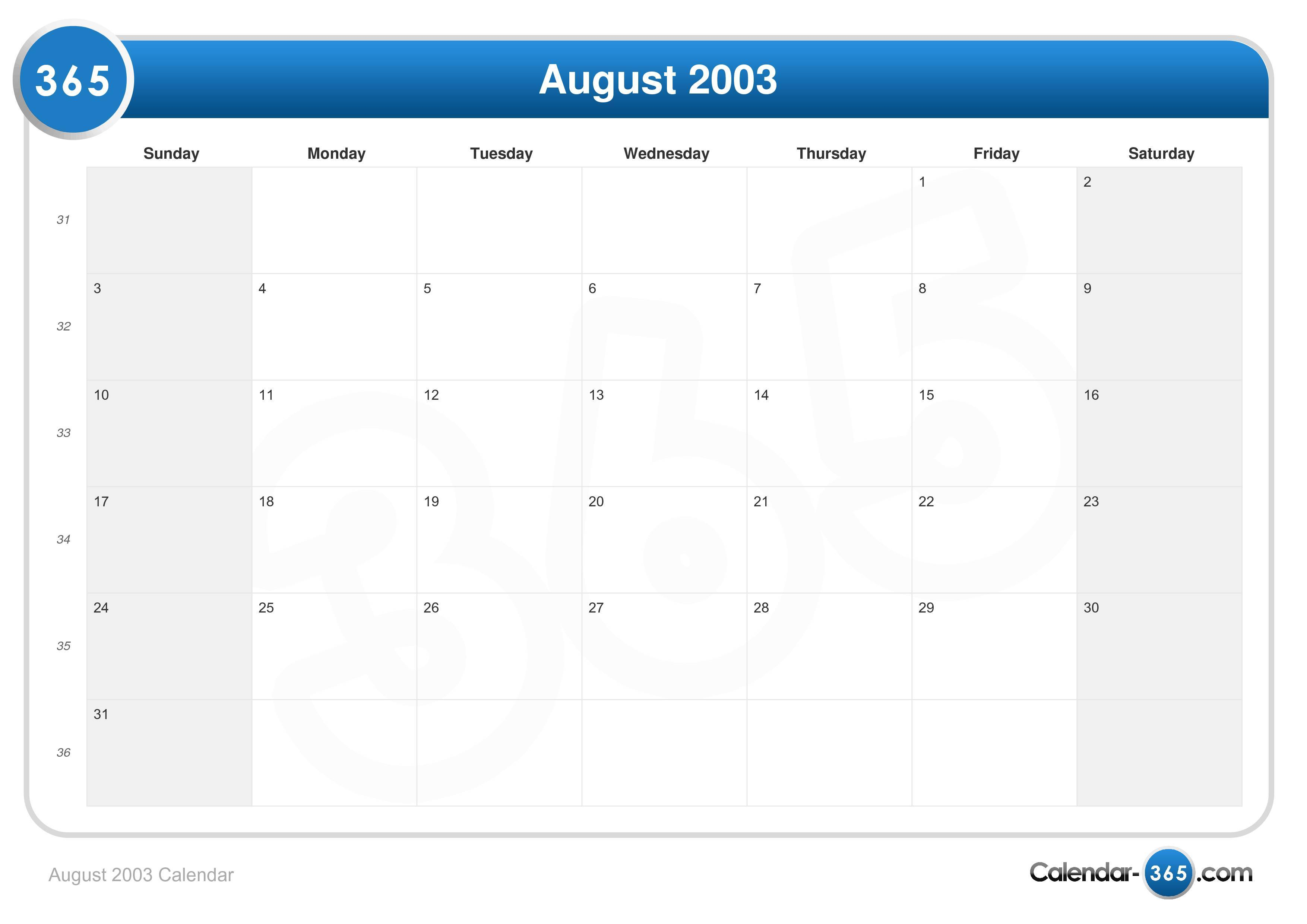 2003 calendar august