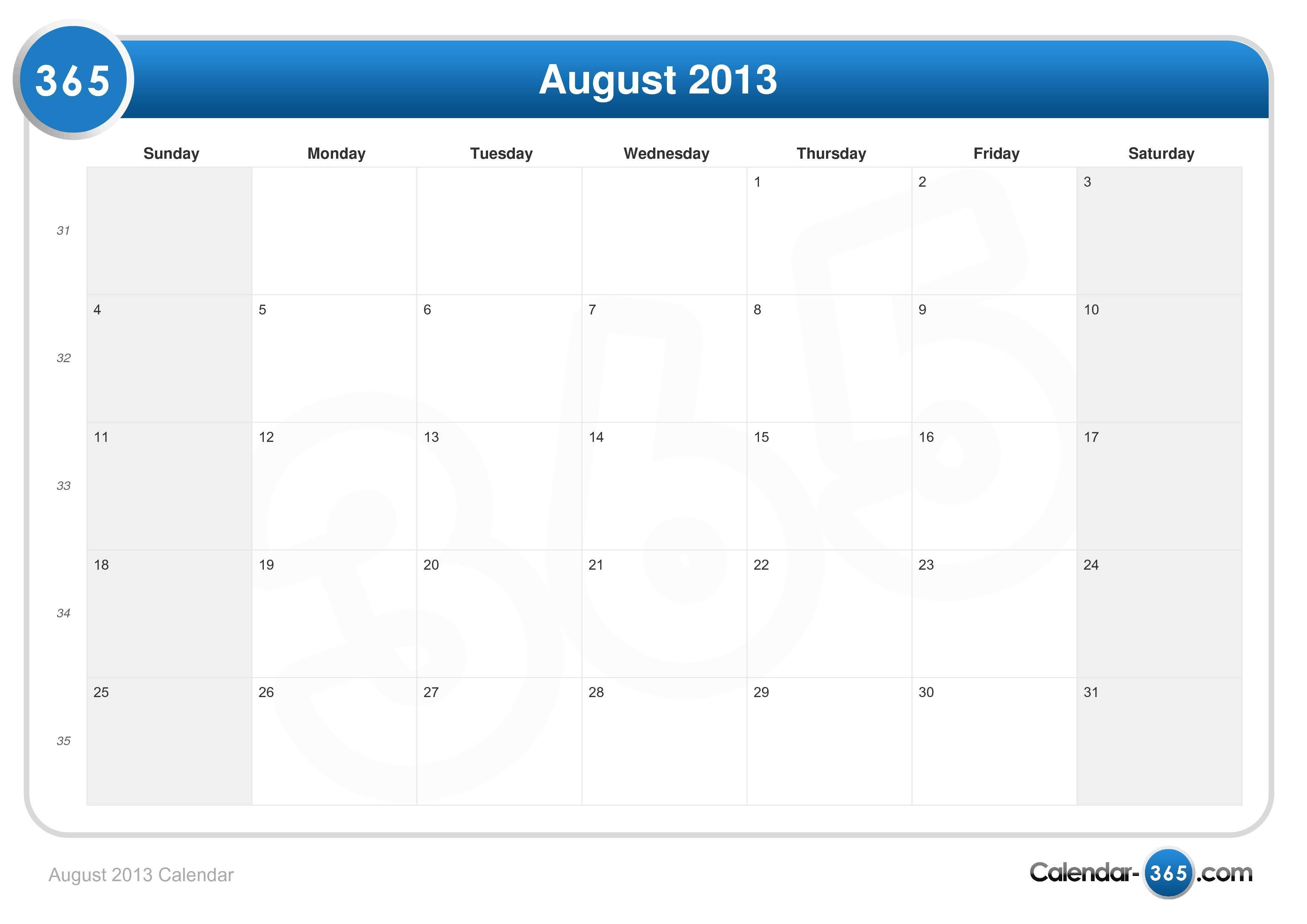Augist 2021 Calendar August 2013 Calendar