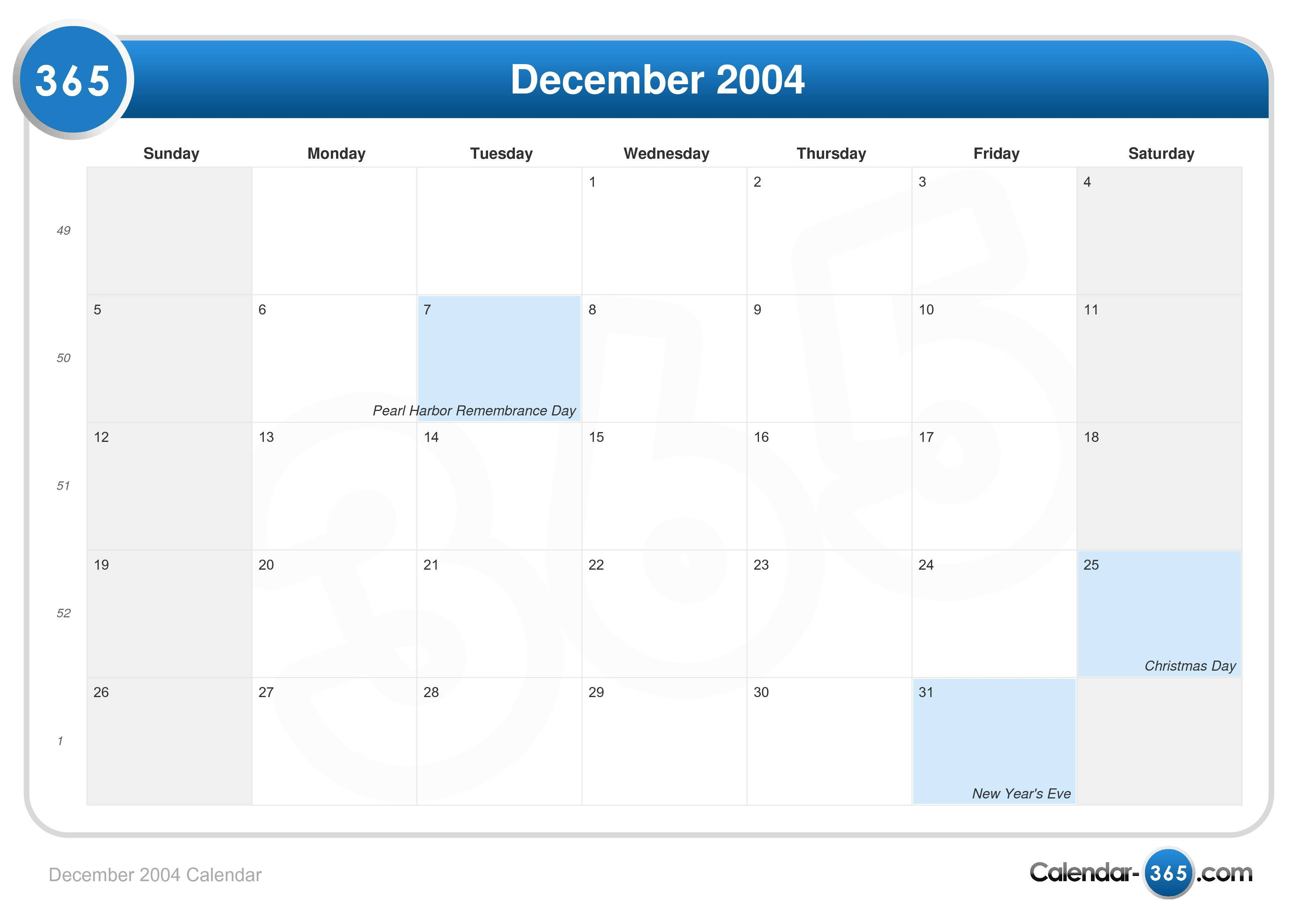 Images Of Pearl Harbor Day >> December 2004 Calendar