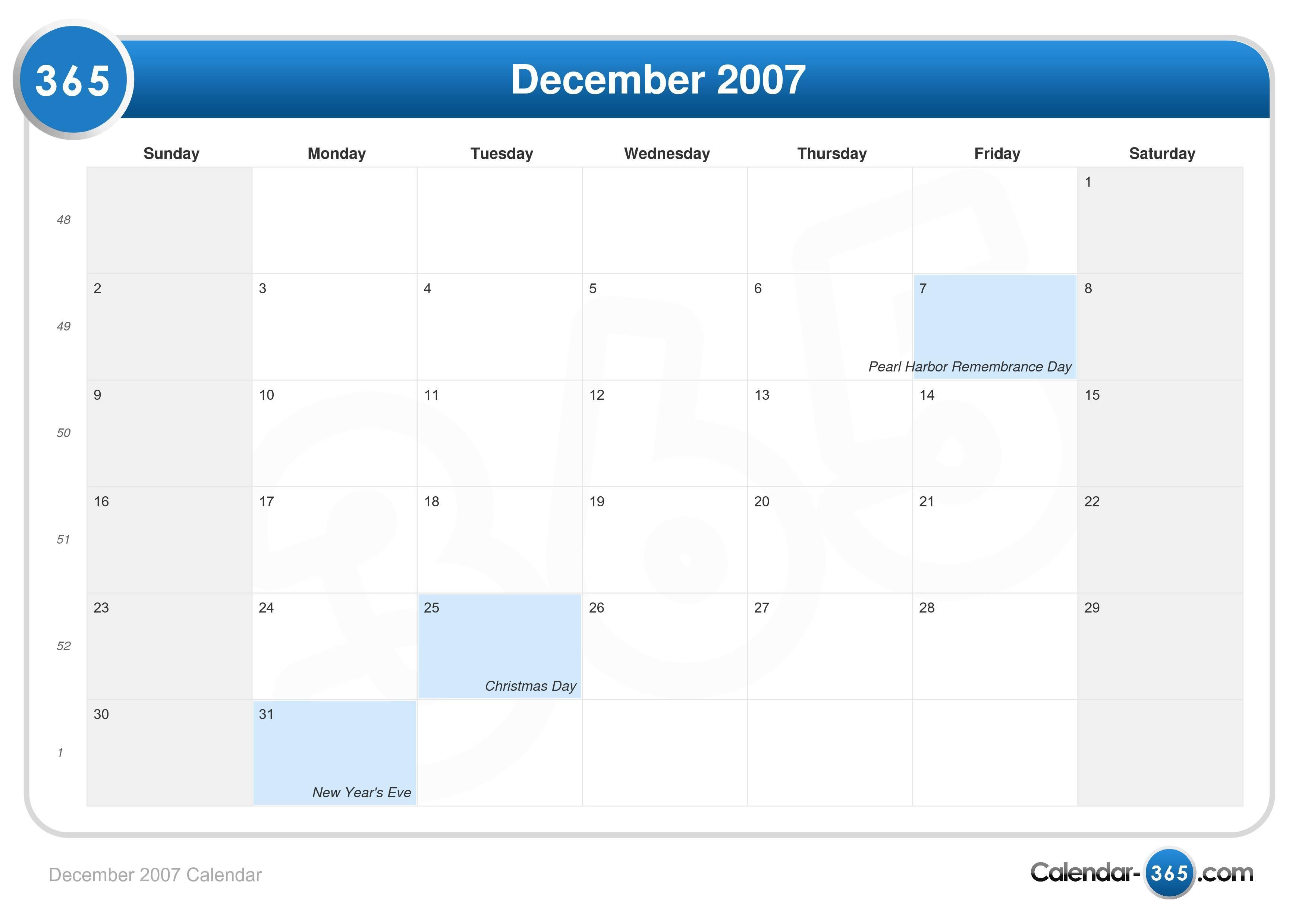December 2007 Calendar