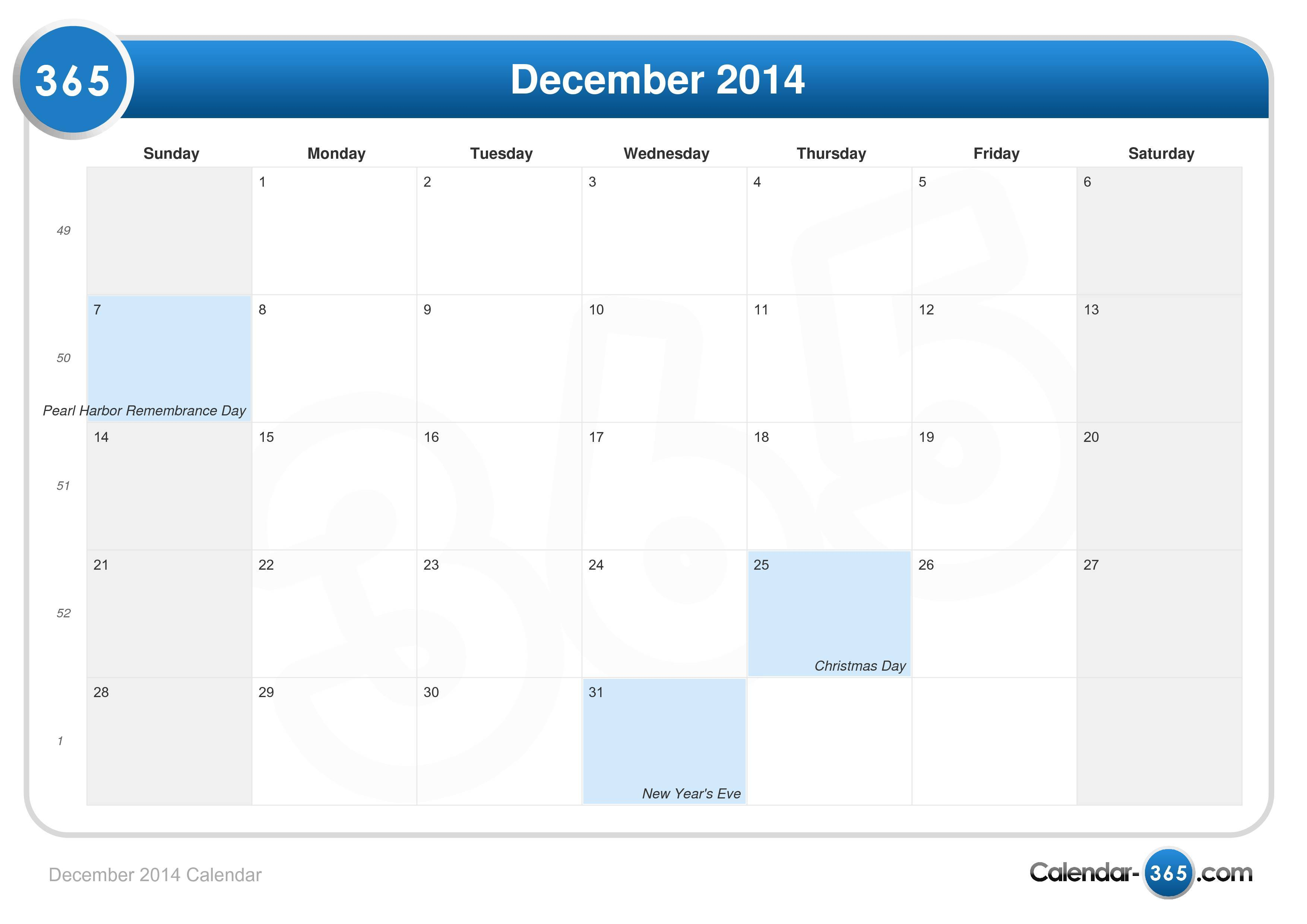December Calendar 2014 : December calendar