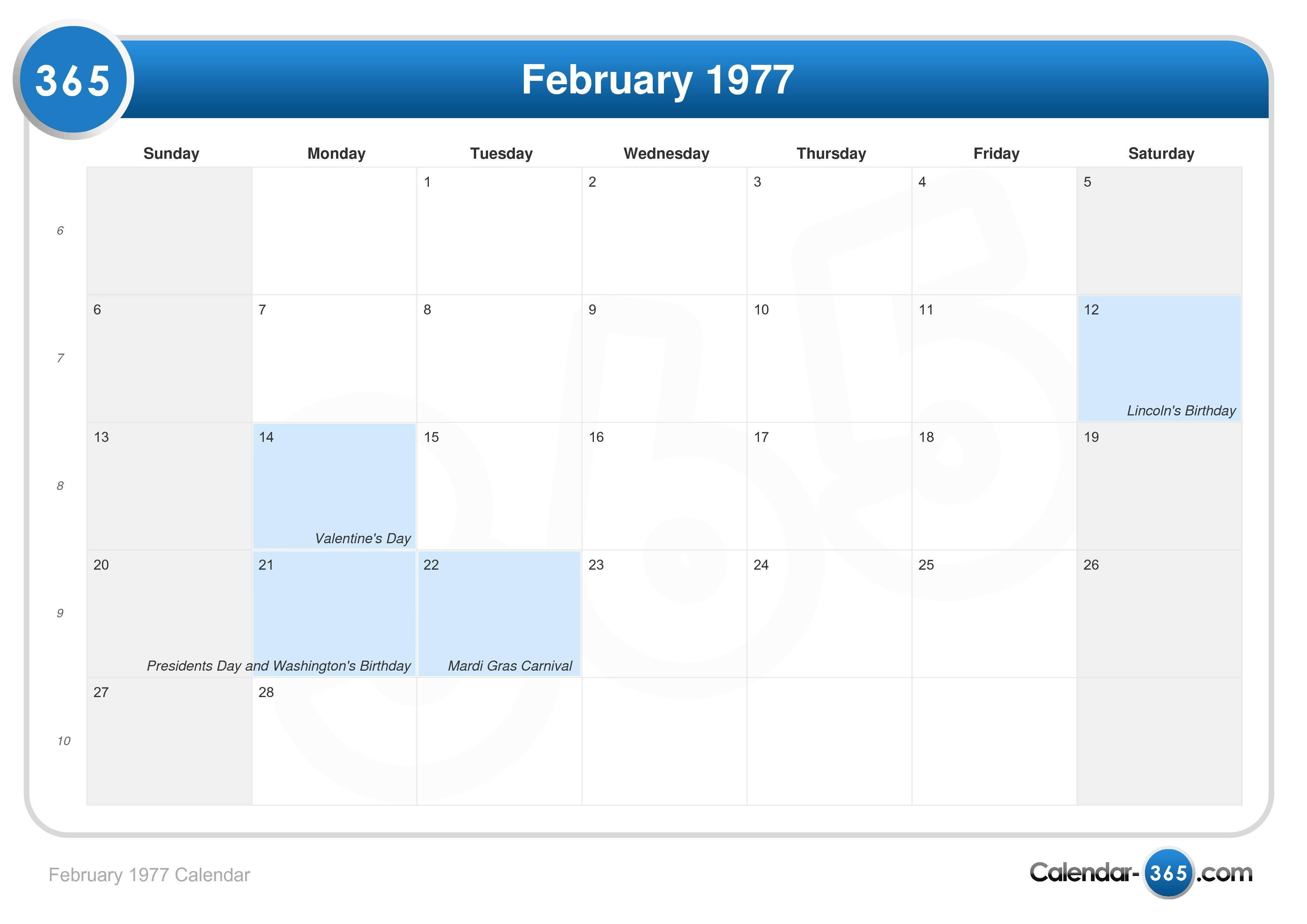 February 1977 Calendar