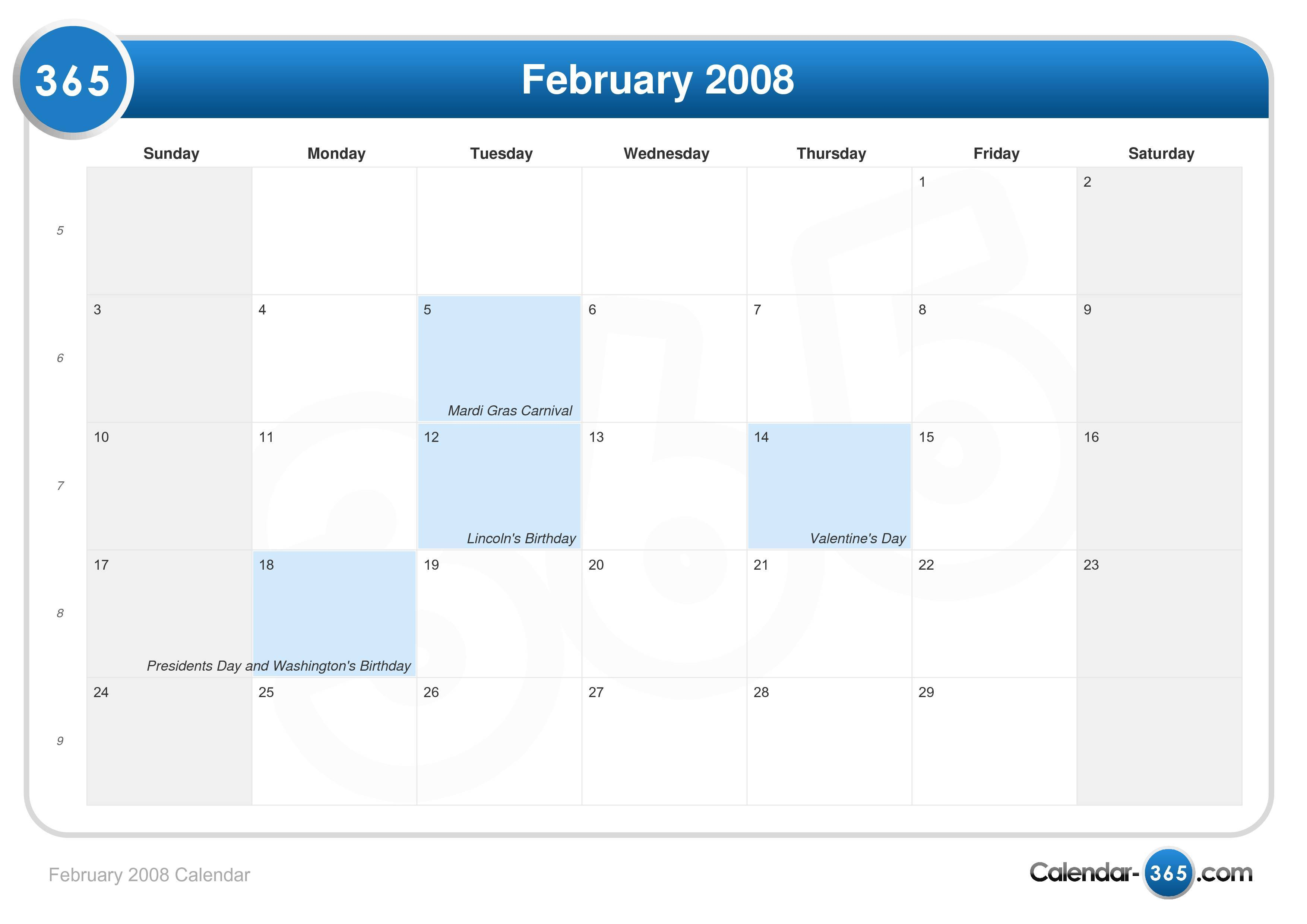 february 2008 calendar