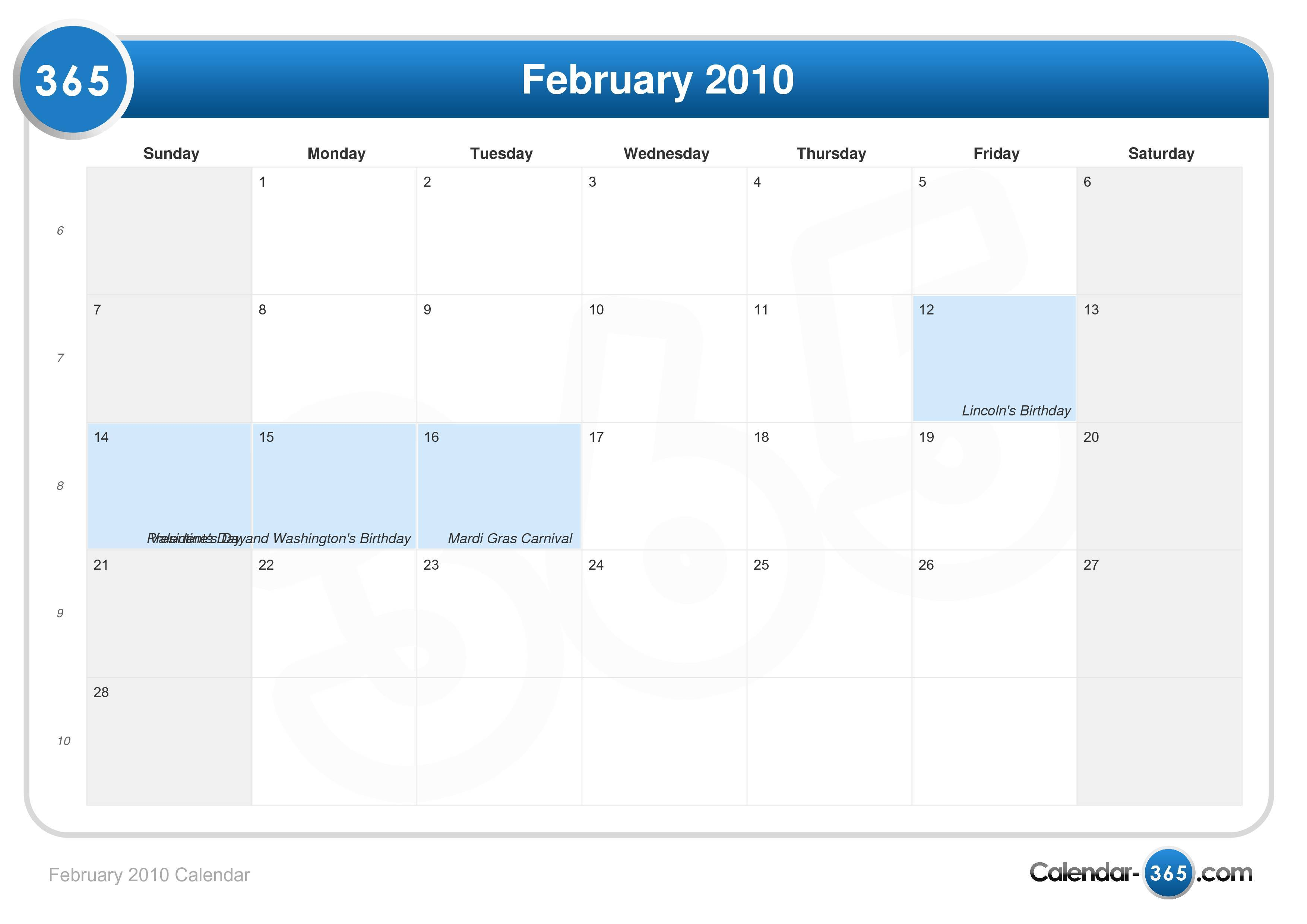 February 2010 - Roman Catholic Saints Calendar