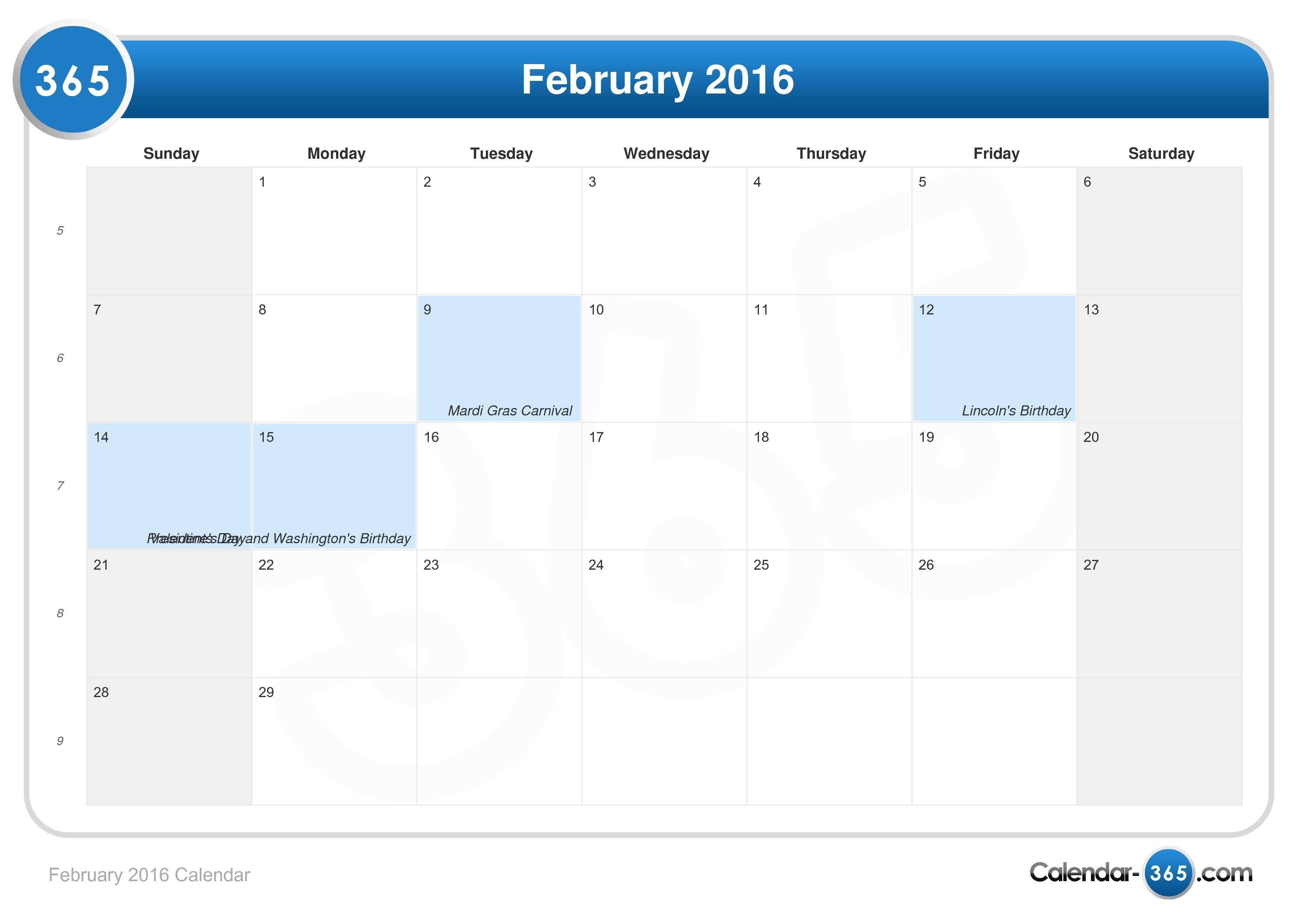 February 2016 | New Calendar Template Site