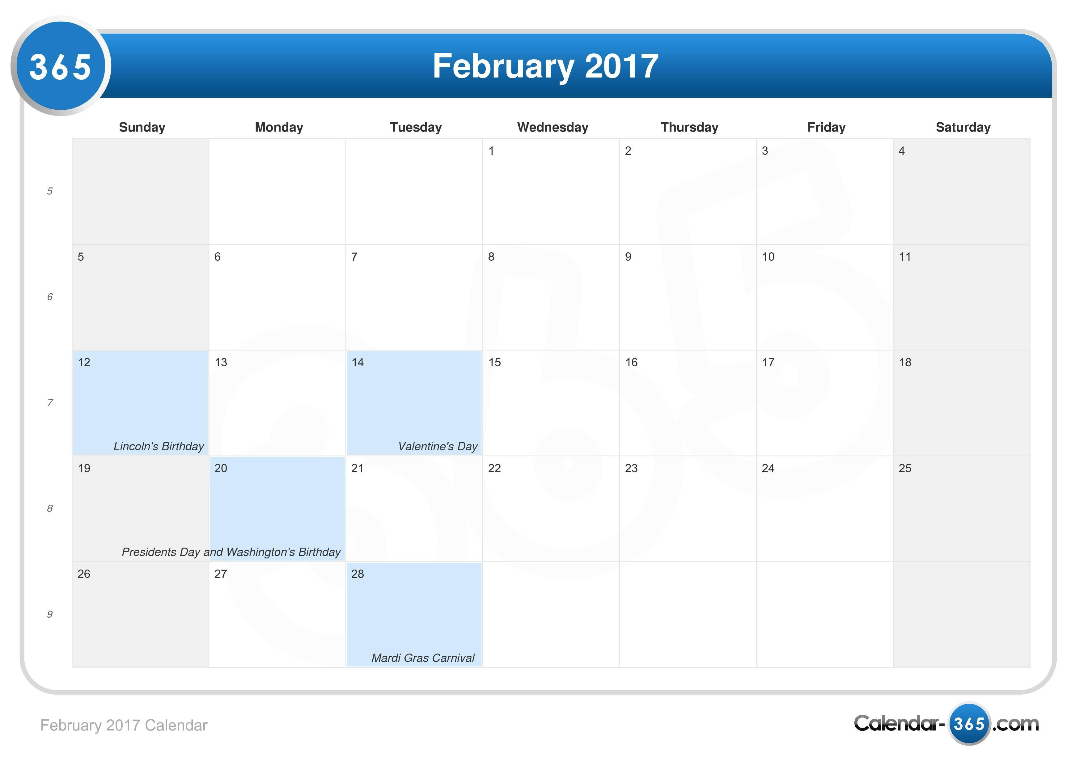 2017 Calendar | Calendar Template 2016