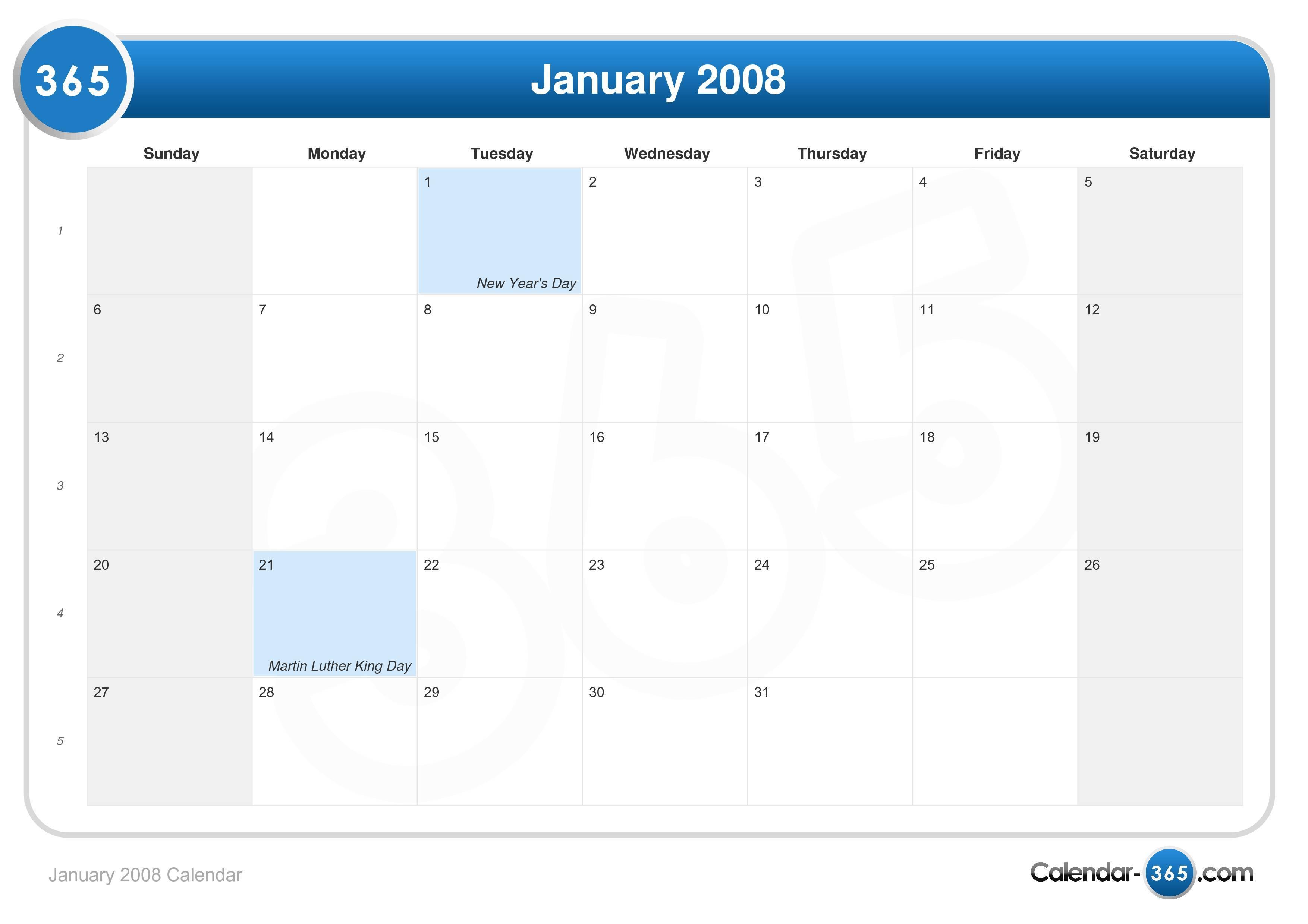 January 2008 Sunday Monday Tuesday