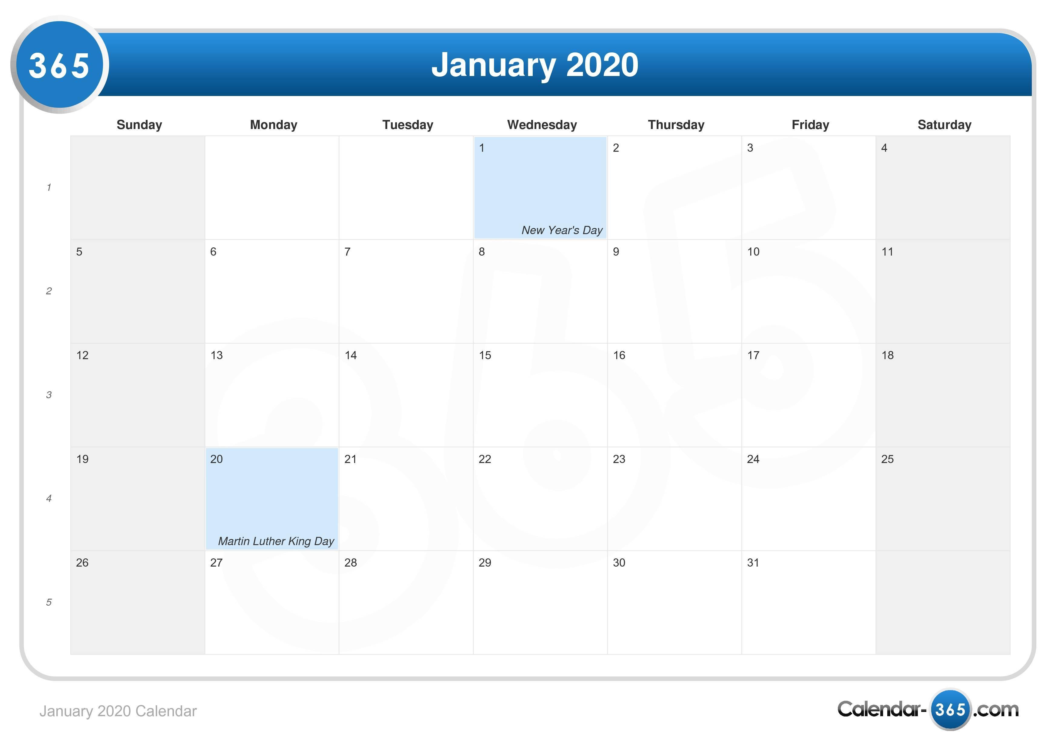 January 1 2020 Calendar January 2020 Calendar