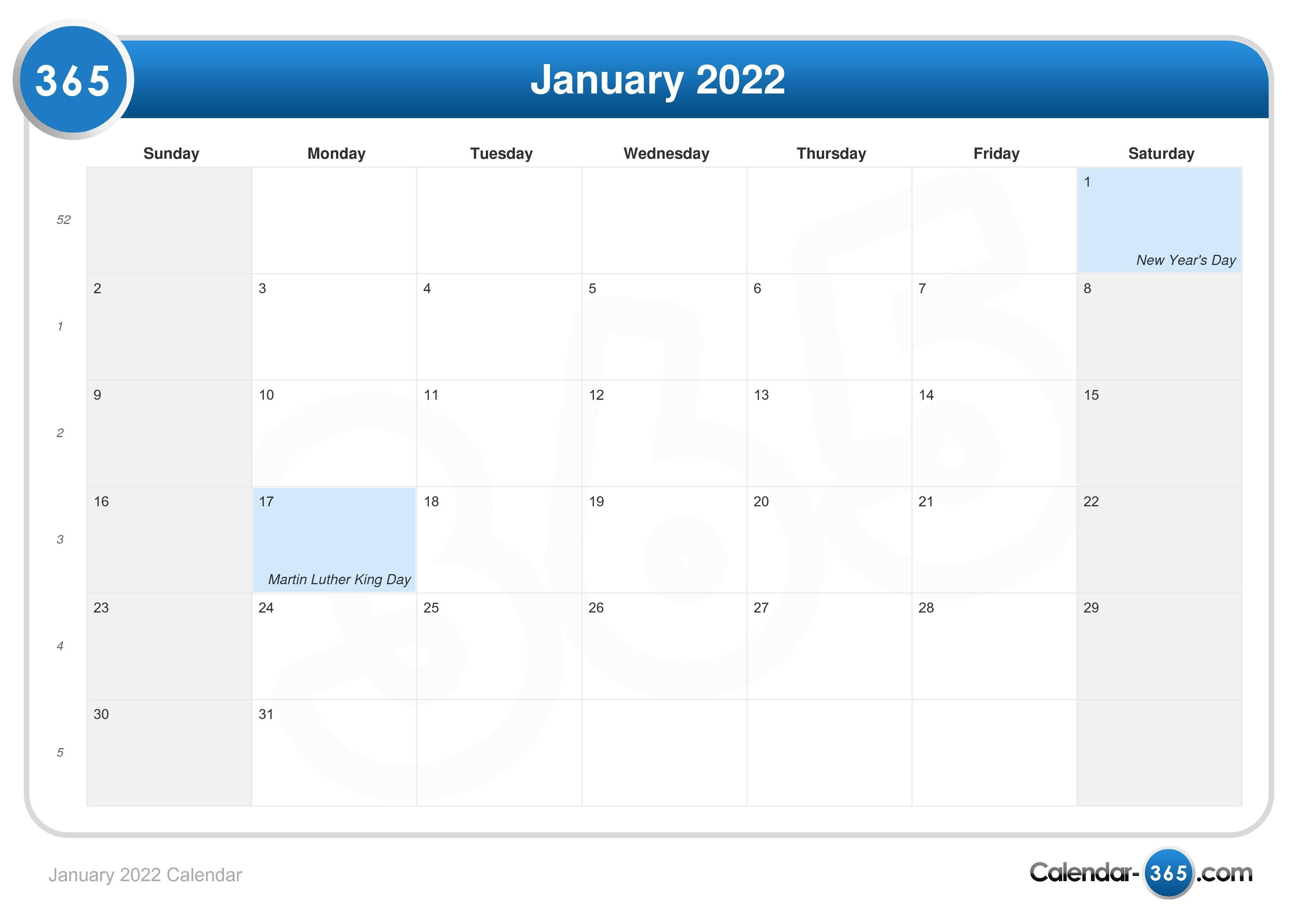December 2023 And January 2022 Calendar.January 2022 Calendar