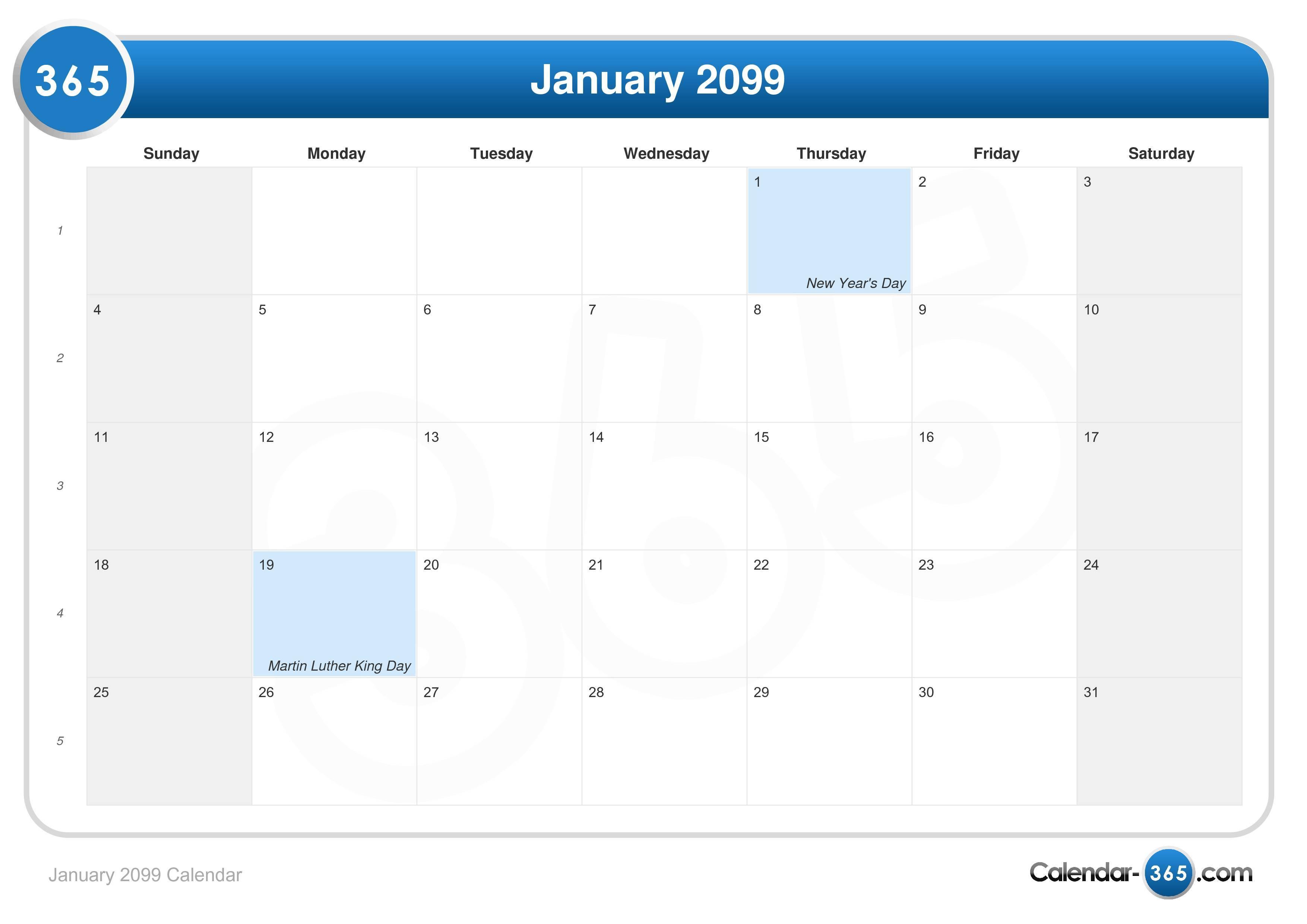 Jan 2009 calendar