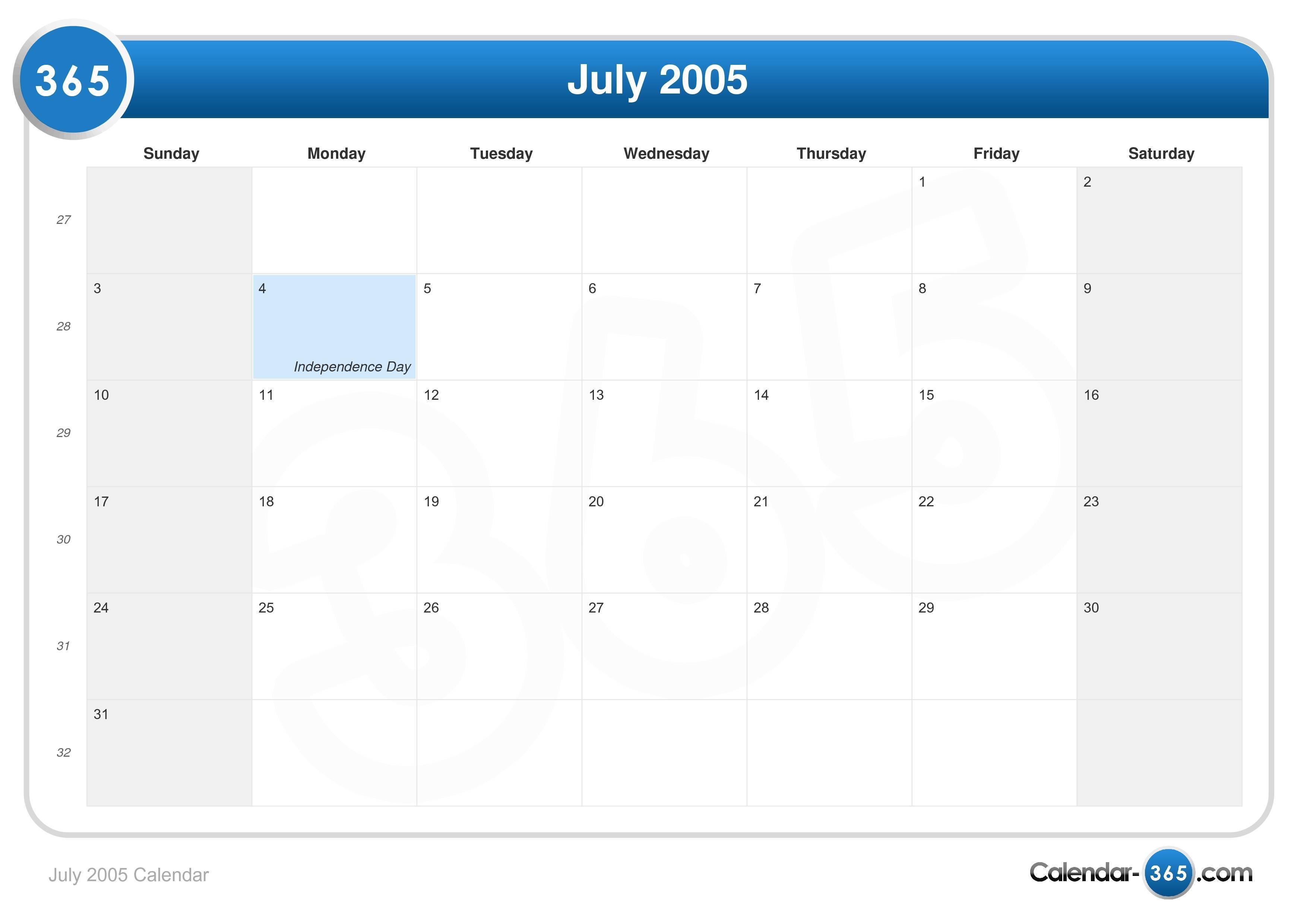 2005 kalender Year 2005