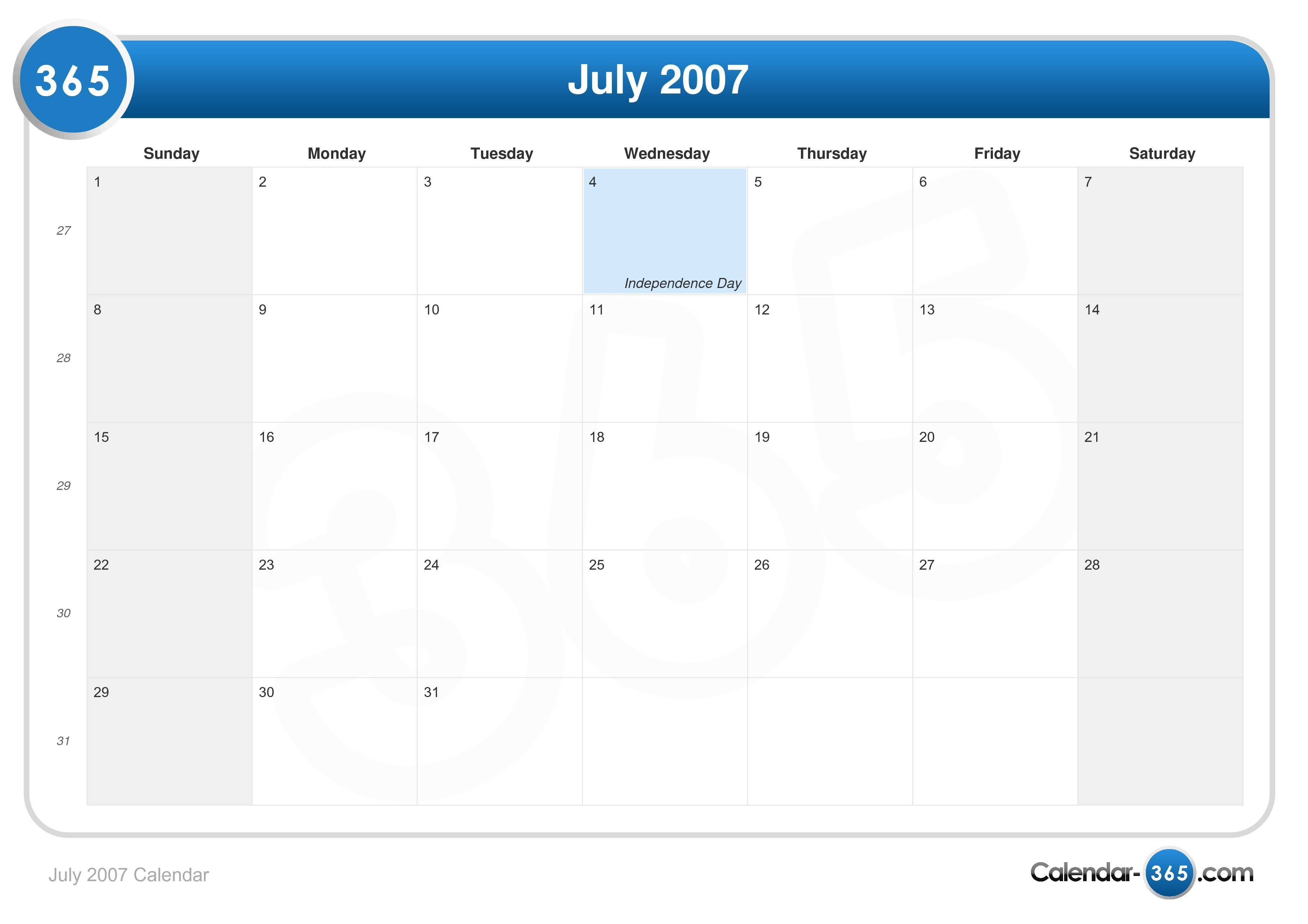 July 2007 Calendar