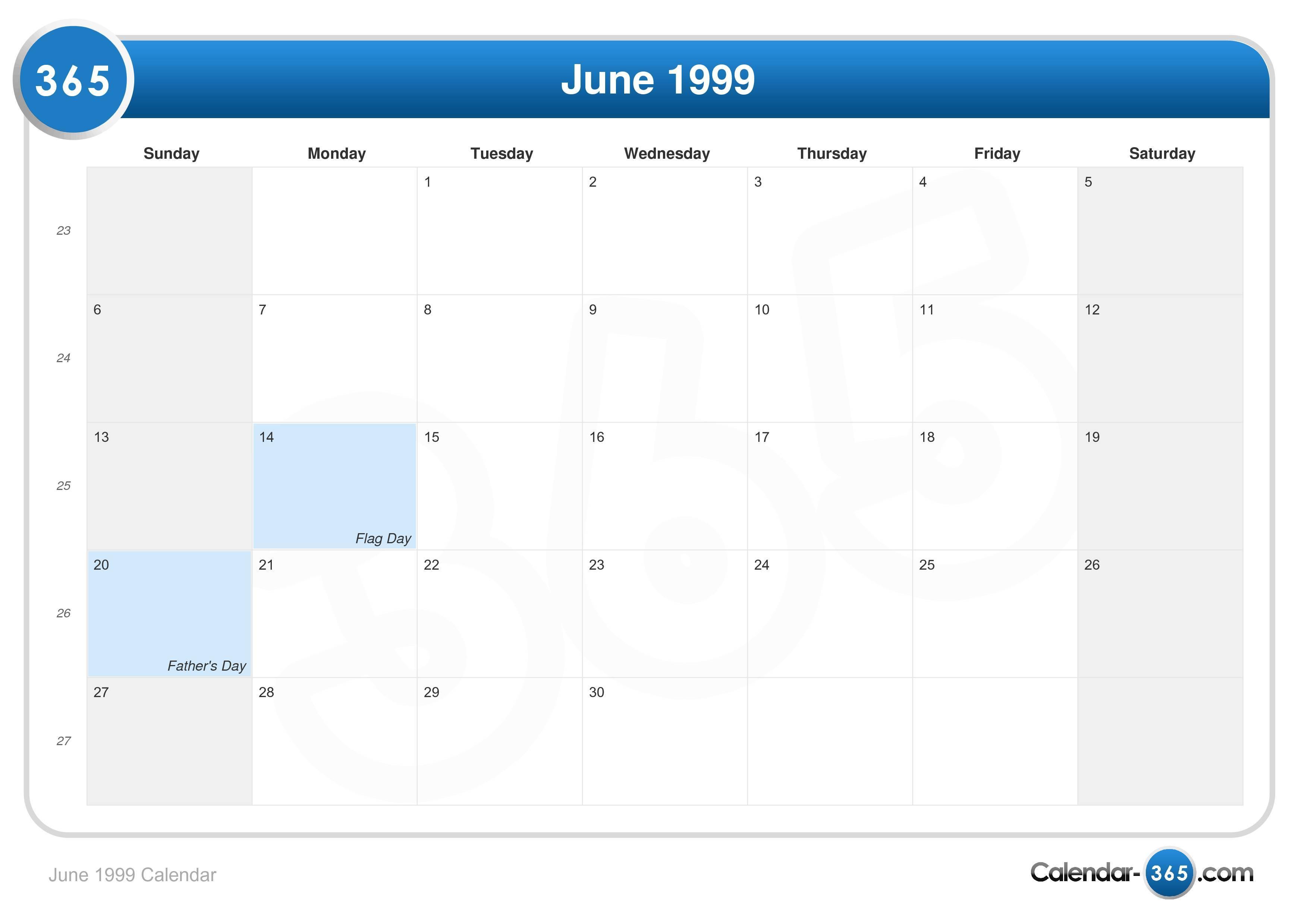 June 1999 Calendar