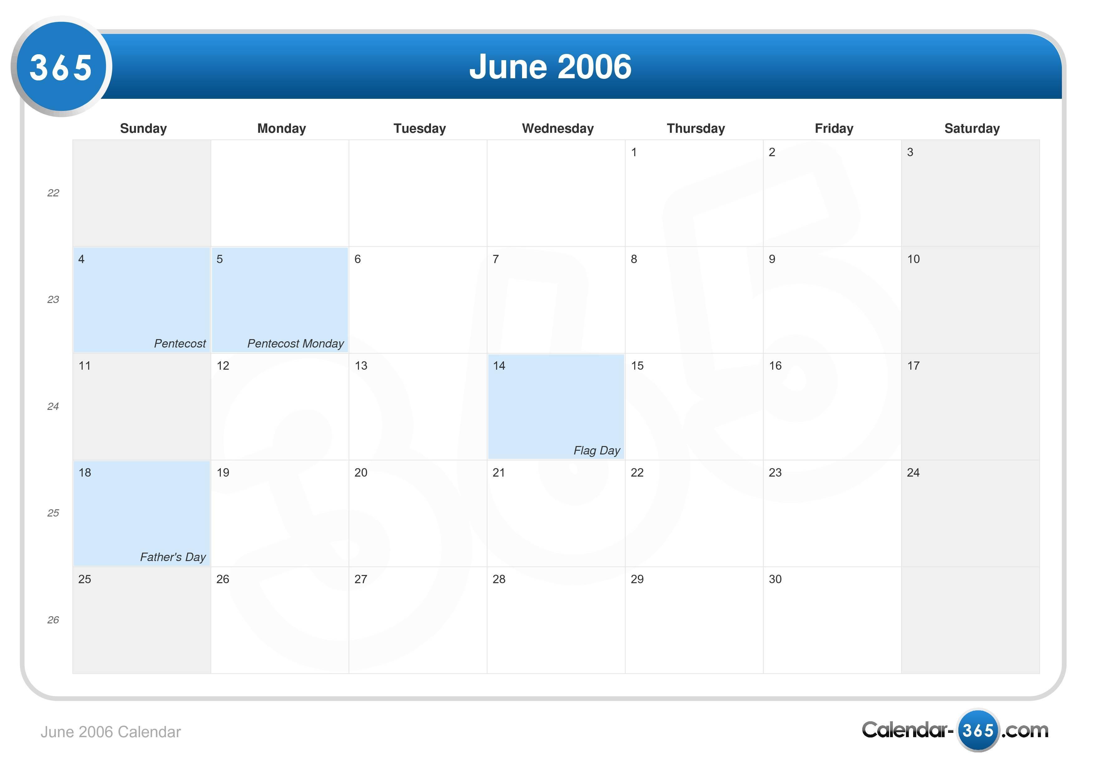 June 2006 Calendar