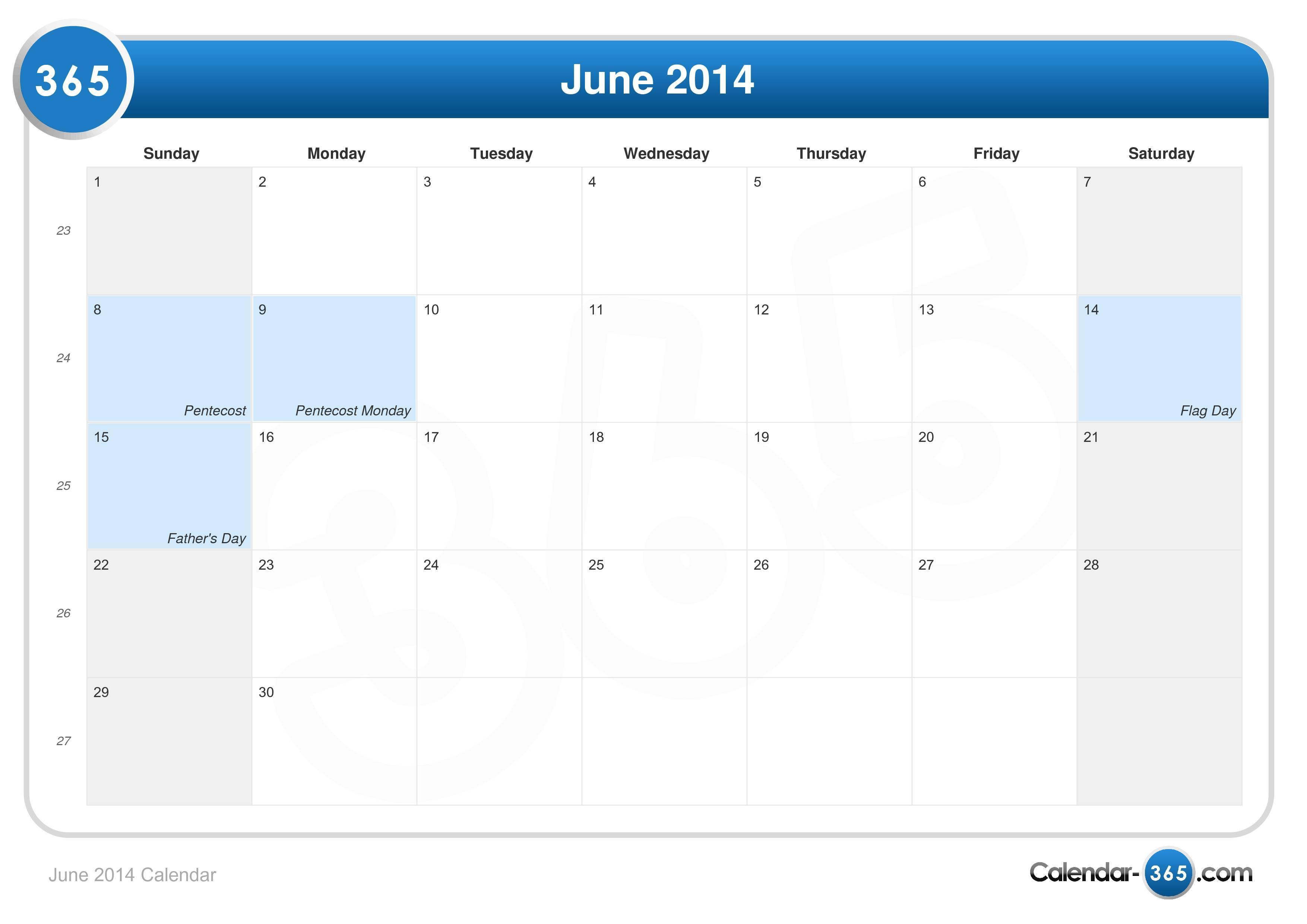 Calendar June 2014 : June calendar