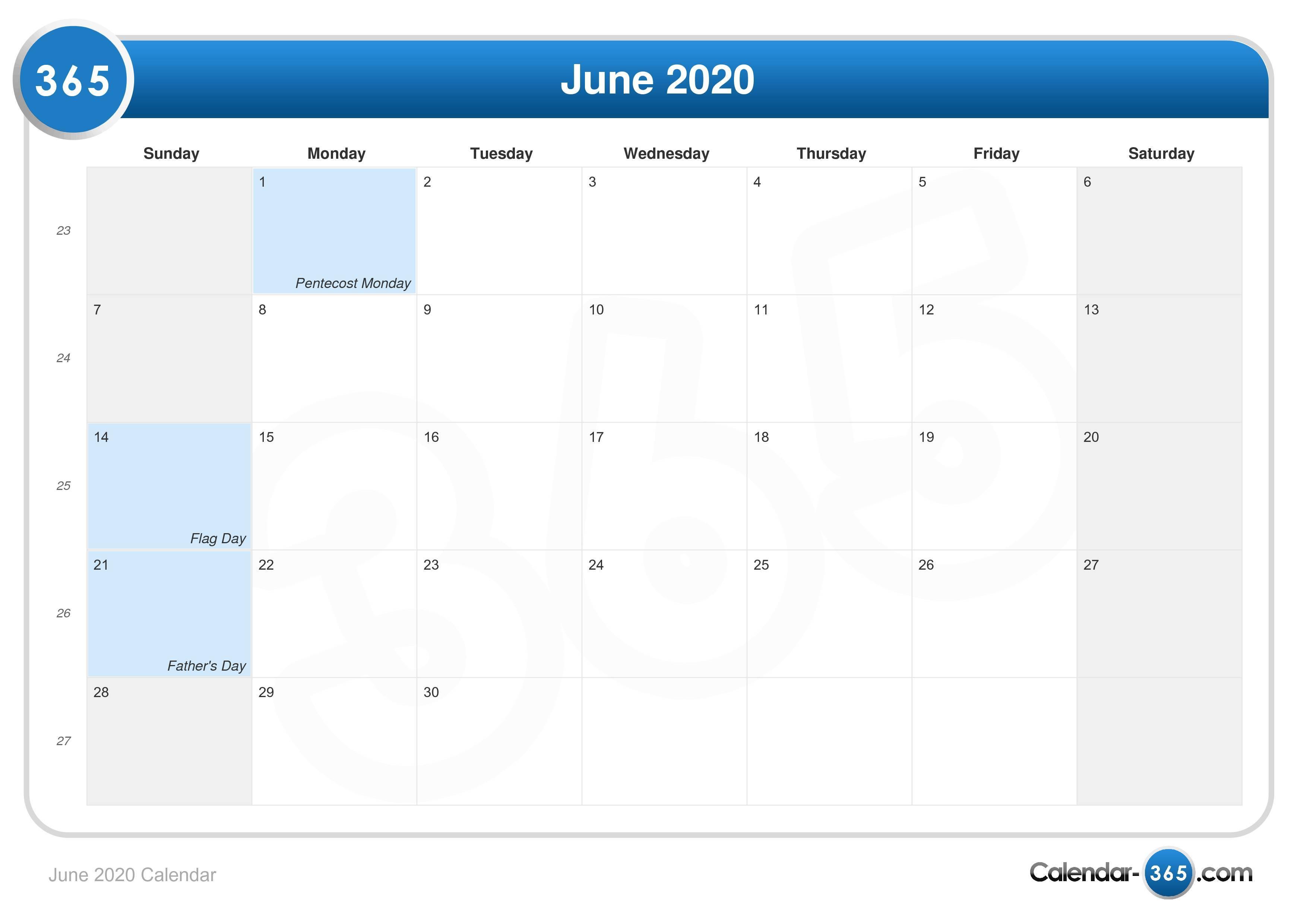 2020 Calendar June June 2020 Calendar