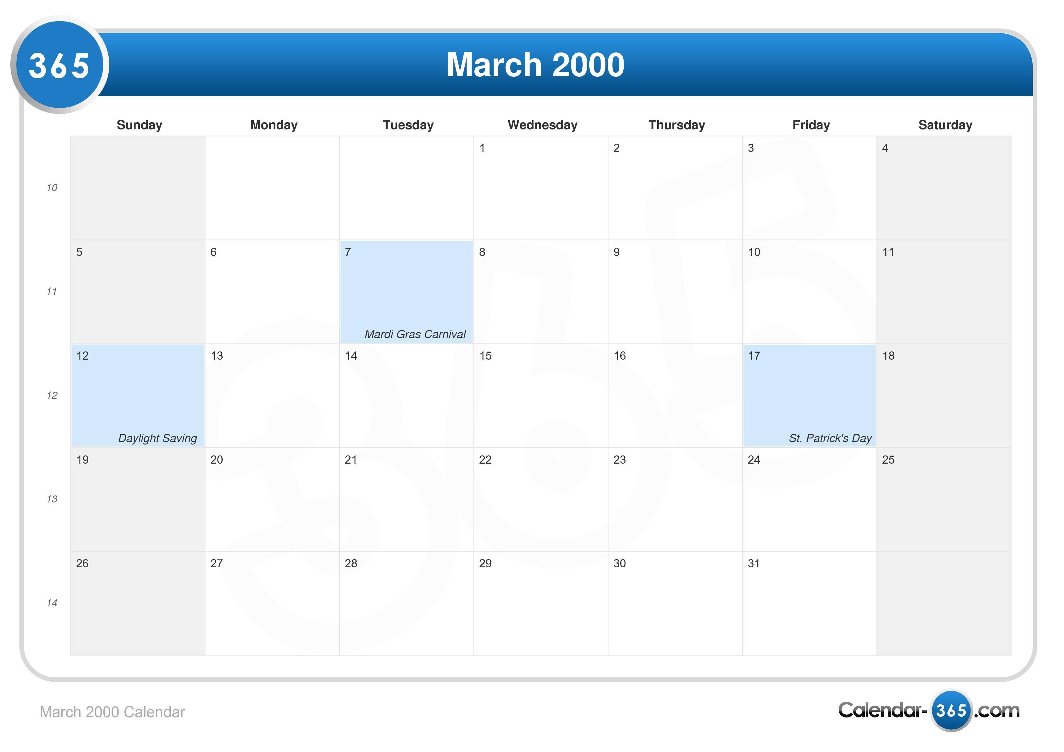 March 2000 Calendar