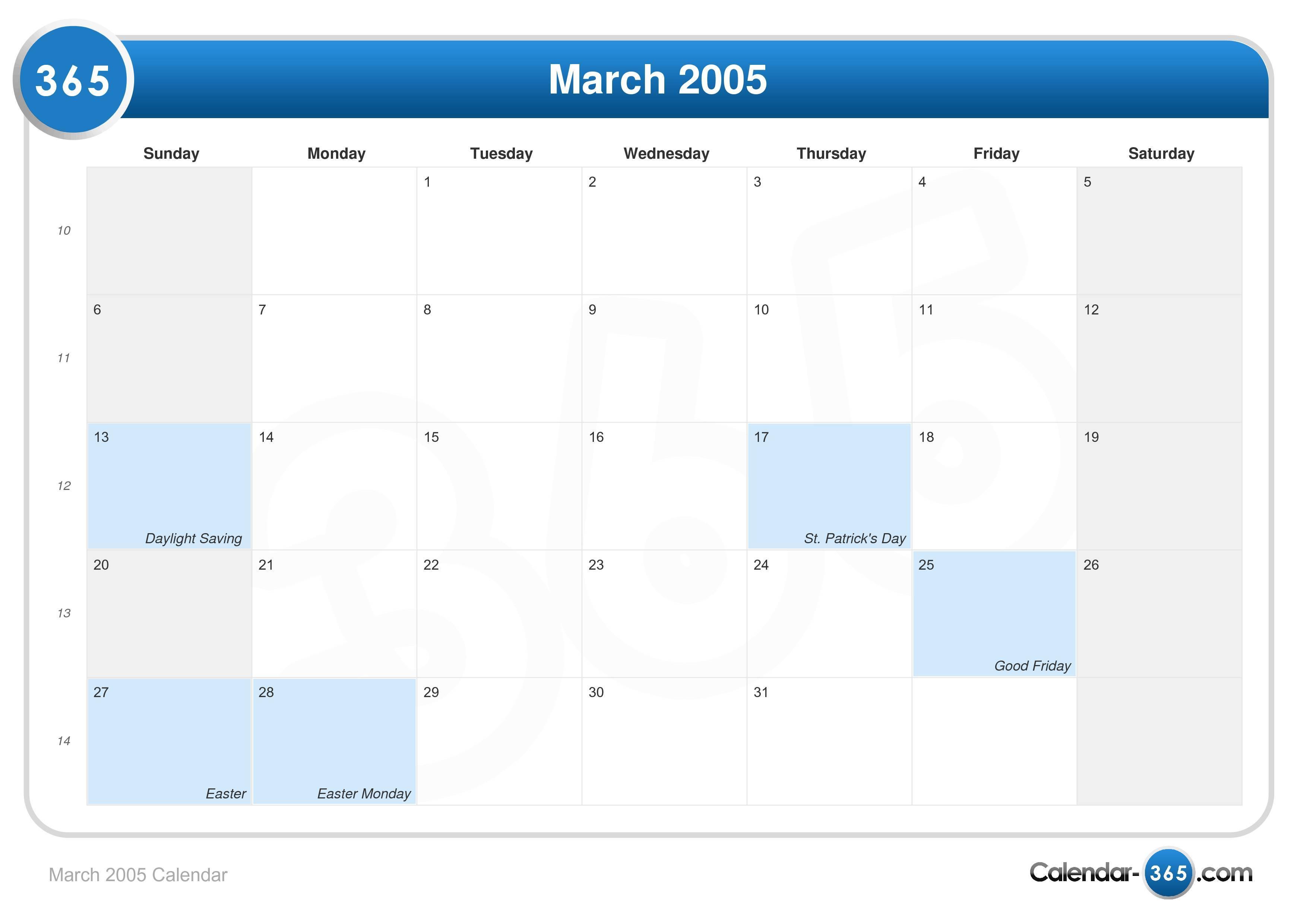 March 2005 Calendar