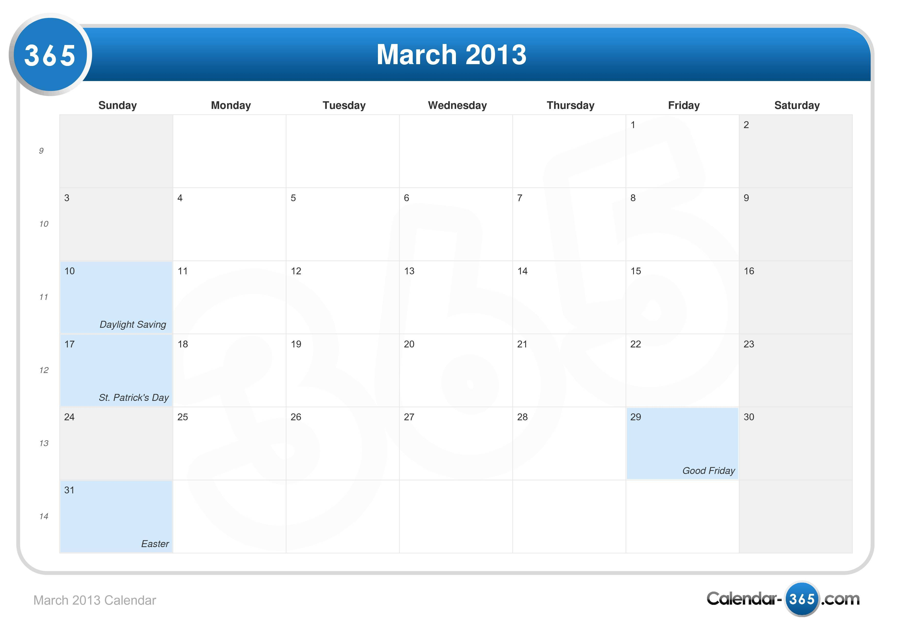 March 2013 - calendar templates for Word, Excel and PDF