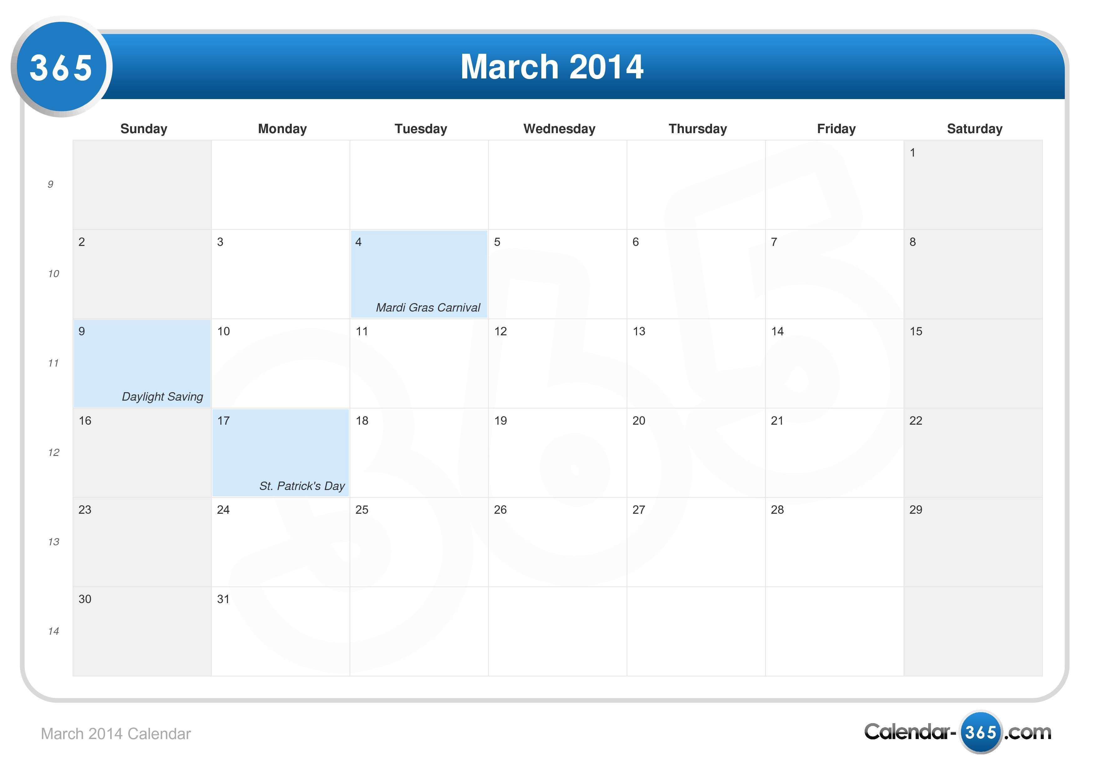 March 2014 Calendar with Holidays