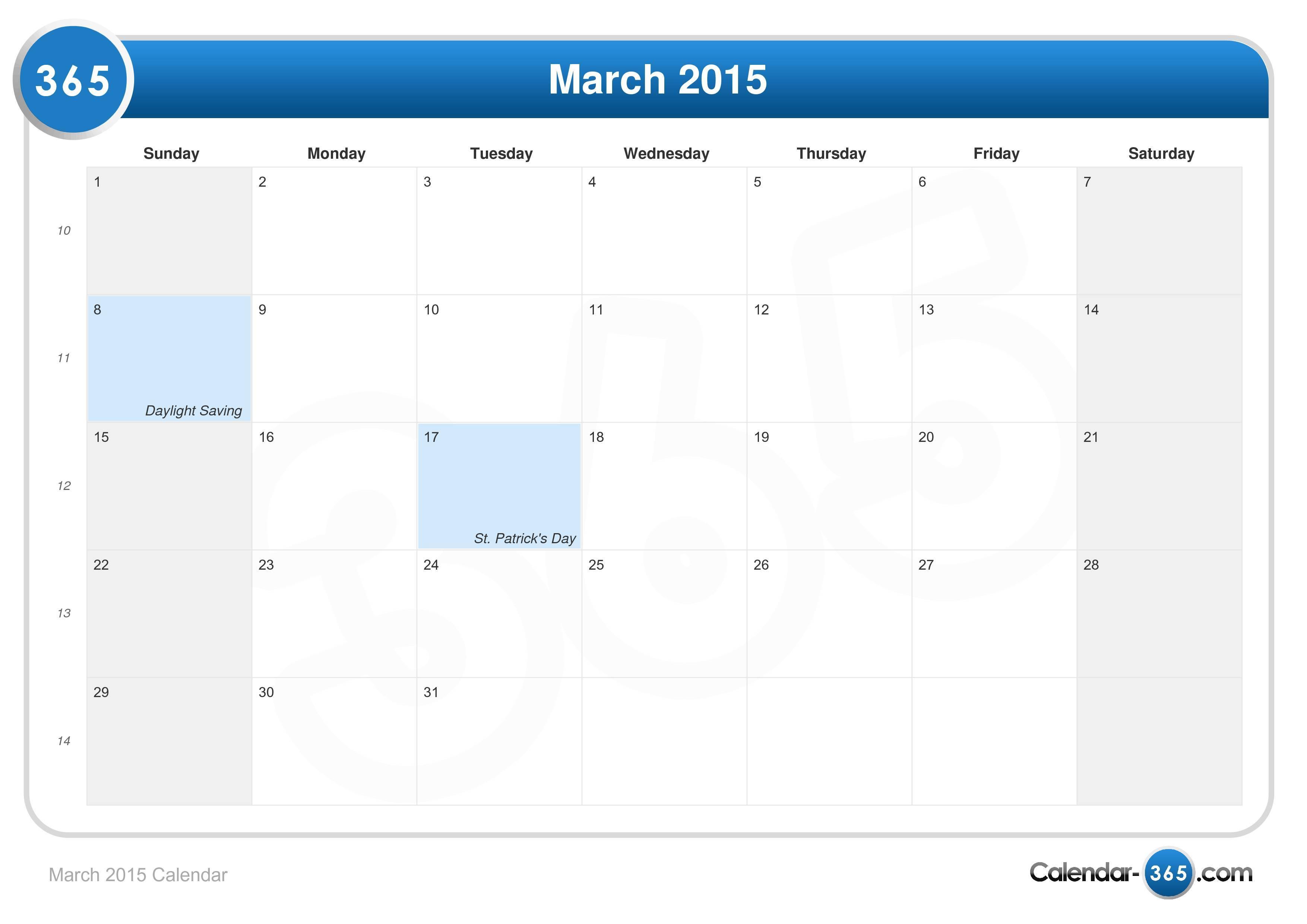 March 2015 Calendar
