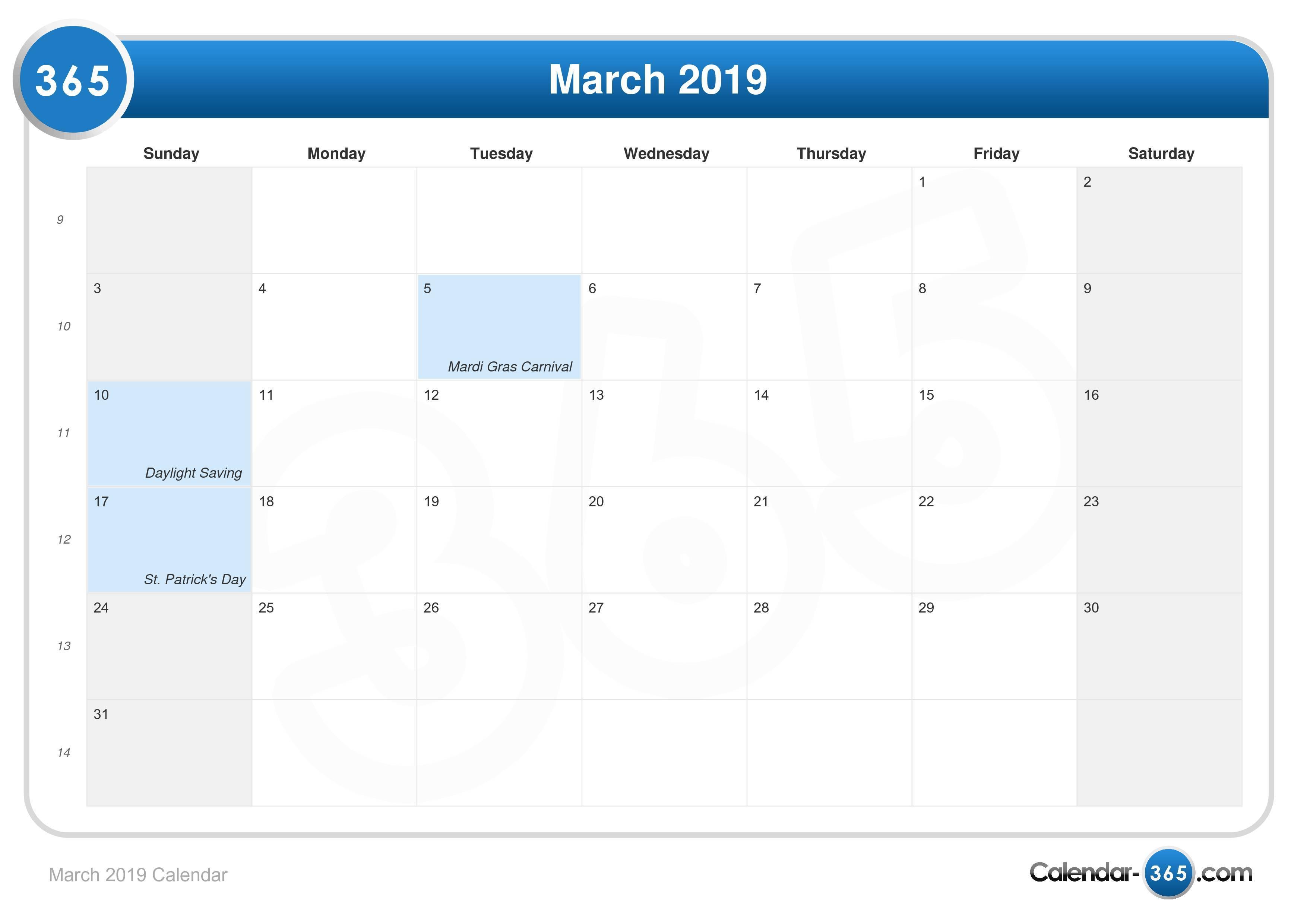 Daylight Calendar 2019 March 2019 Calendar
