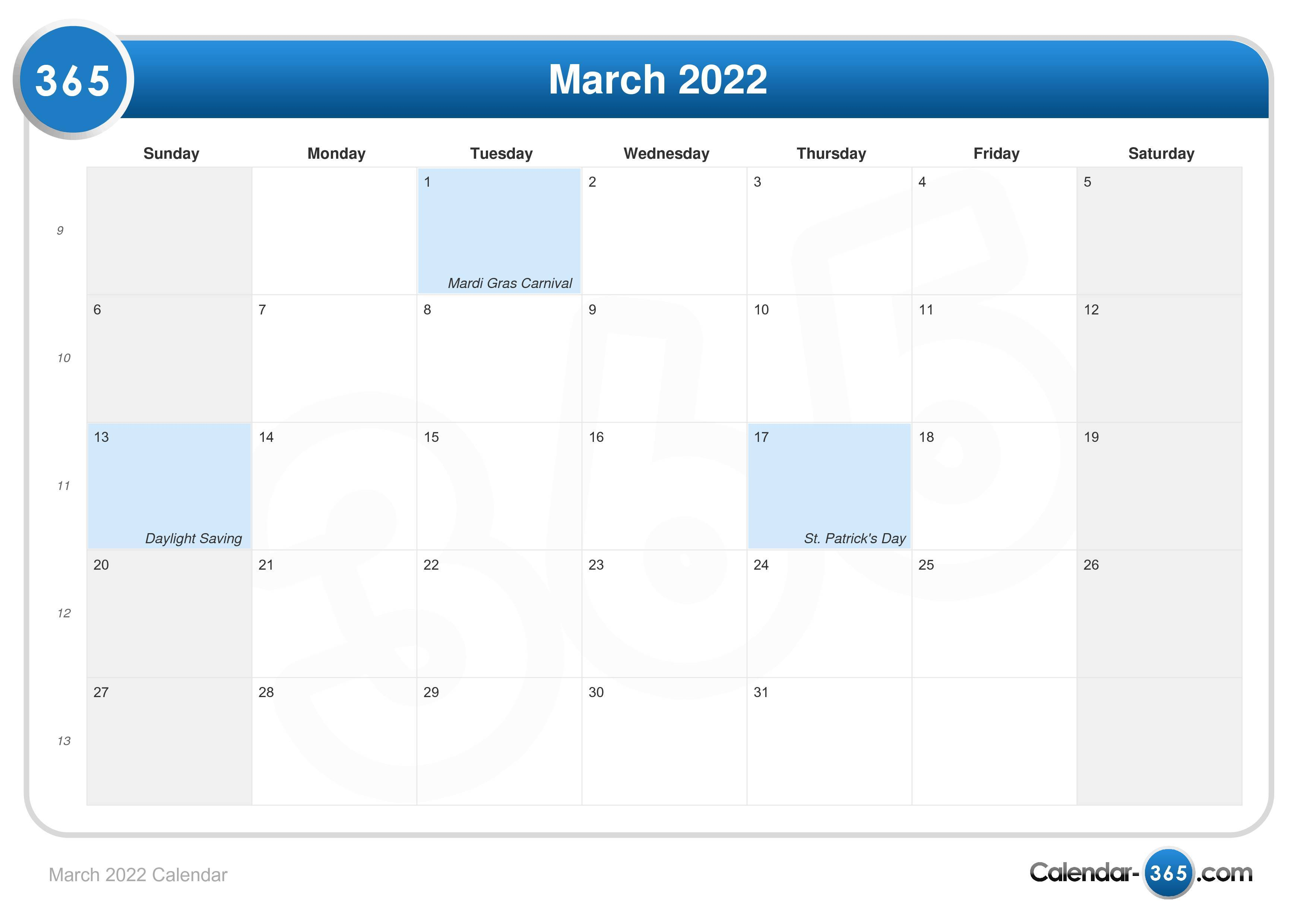 January February March 2022 Calendar.March 2022 Calendar
