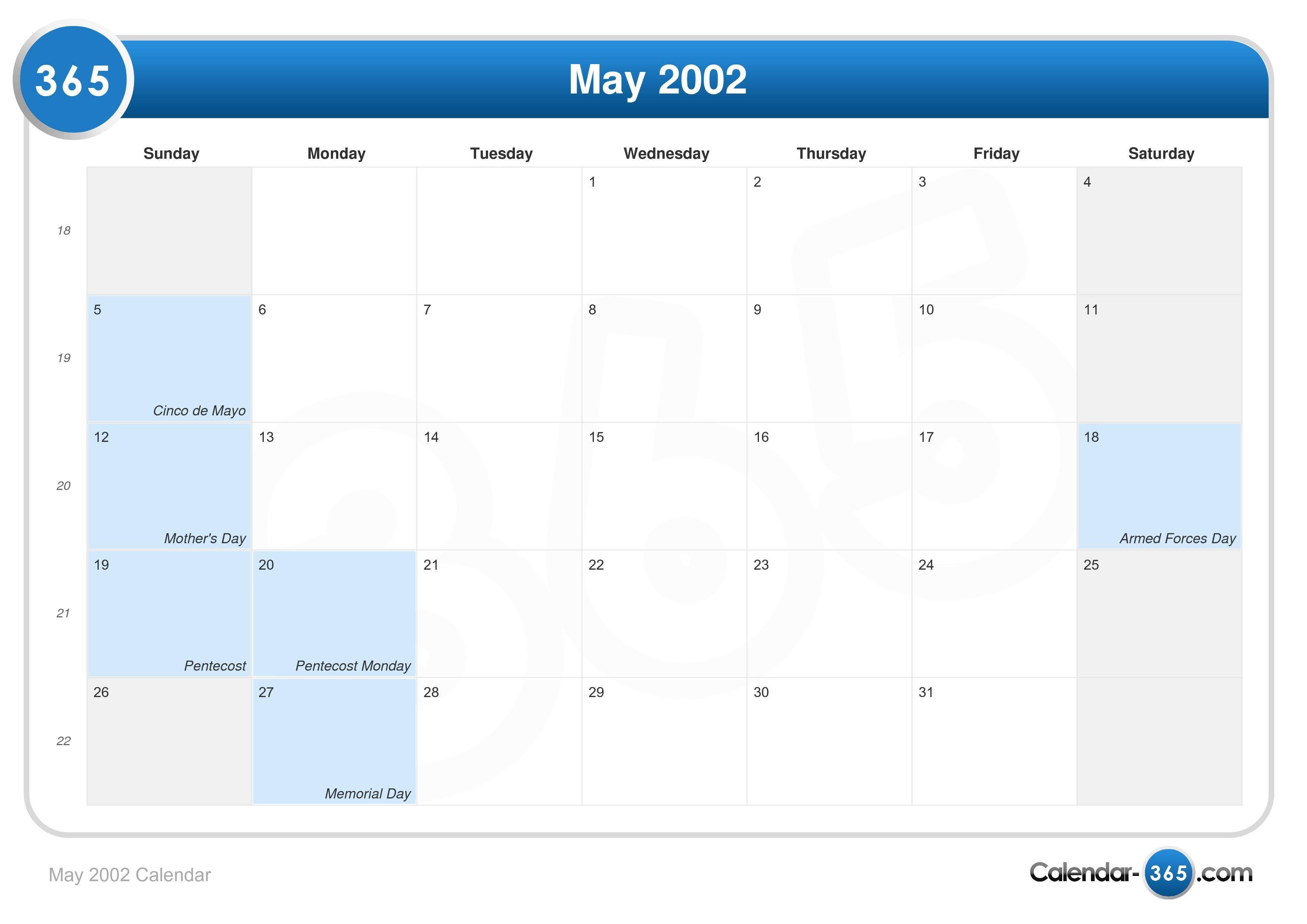 May 2002 Calendar