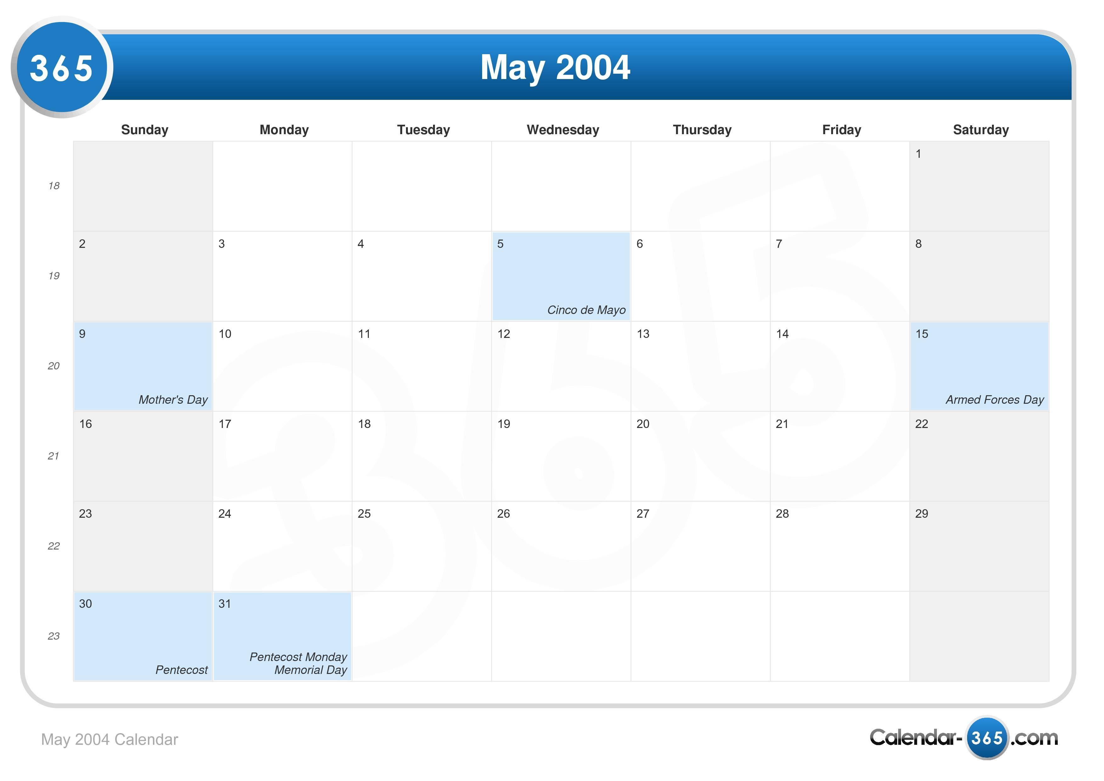 May 2004 Calendar