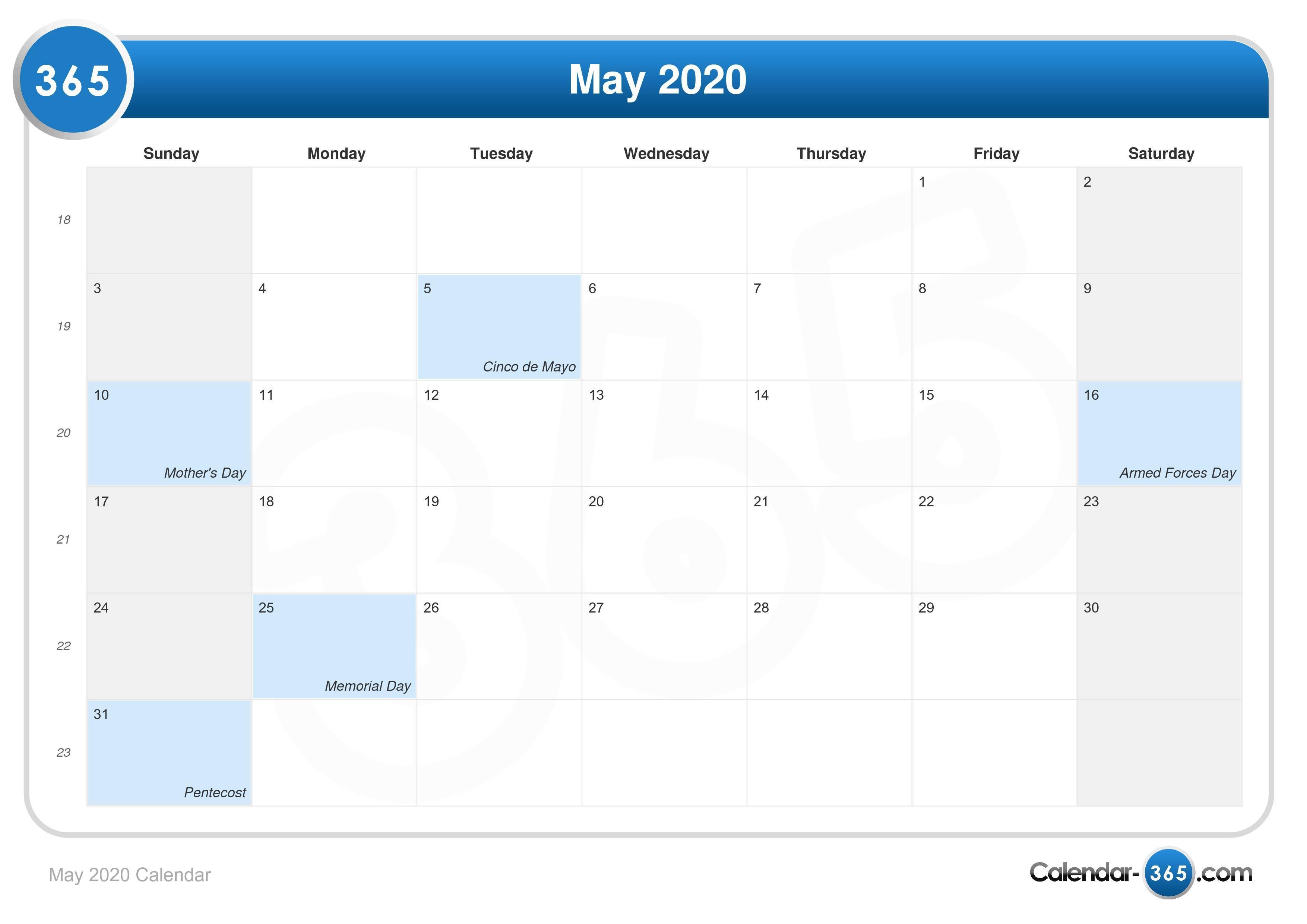 2020 Calendar May May 2020 Calendar