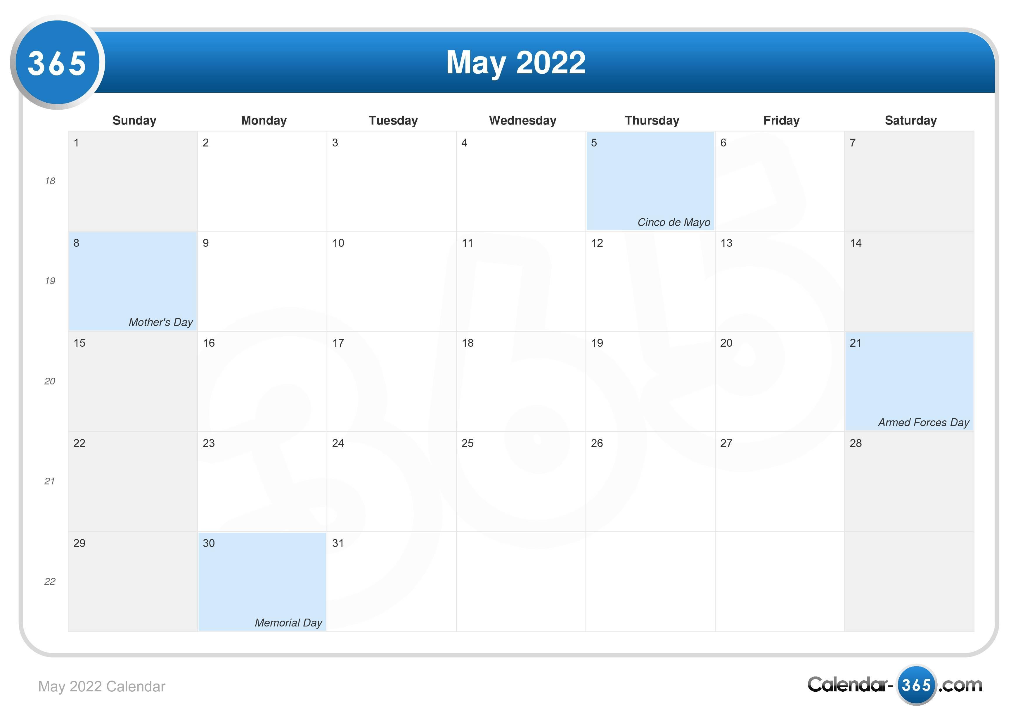 2022 May Calendar.May 2022 Calendar
