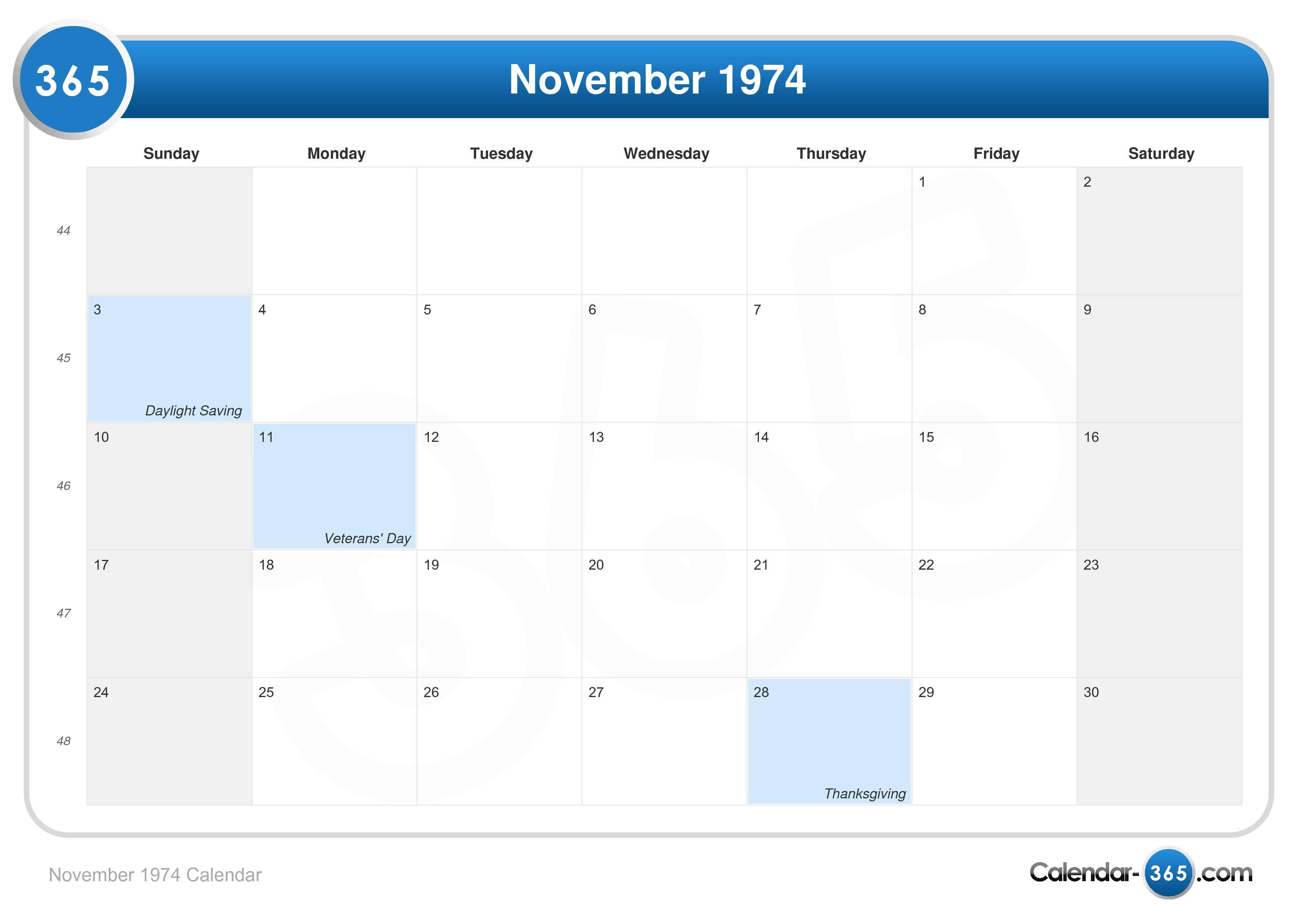 November 1974 Calendar