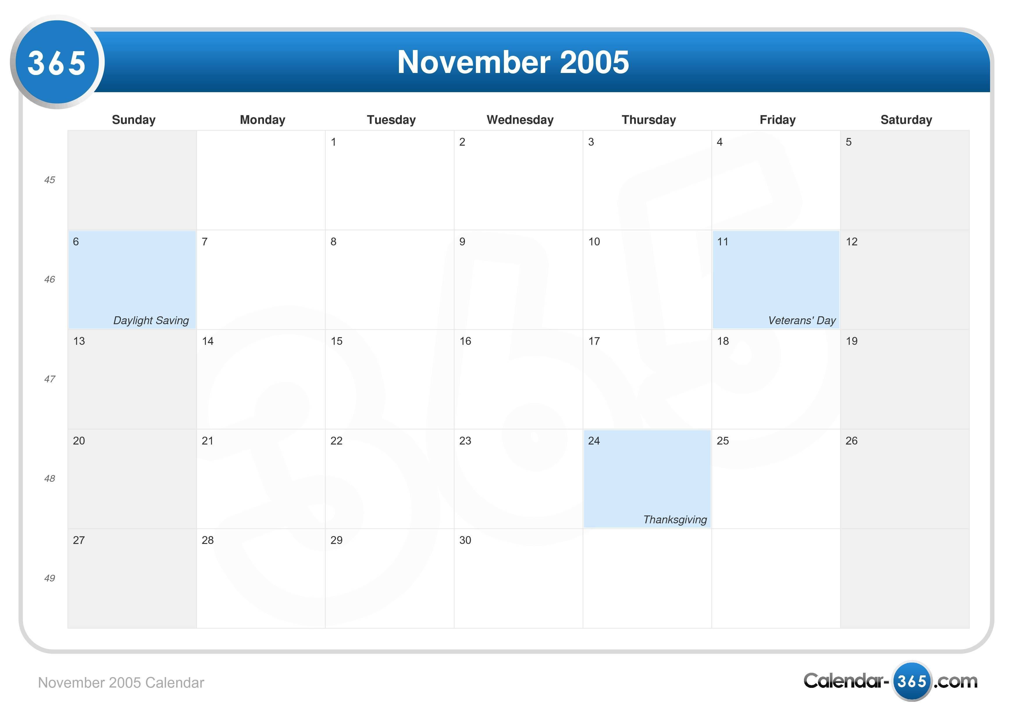 November 2005 Calendar
