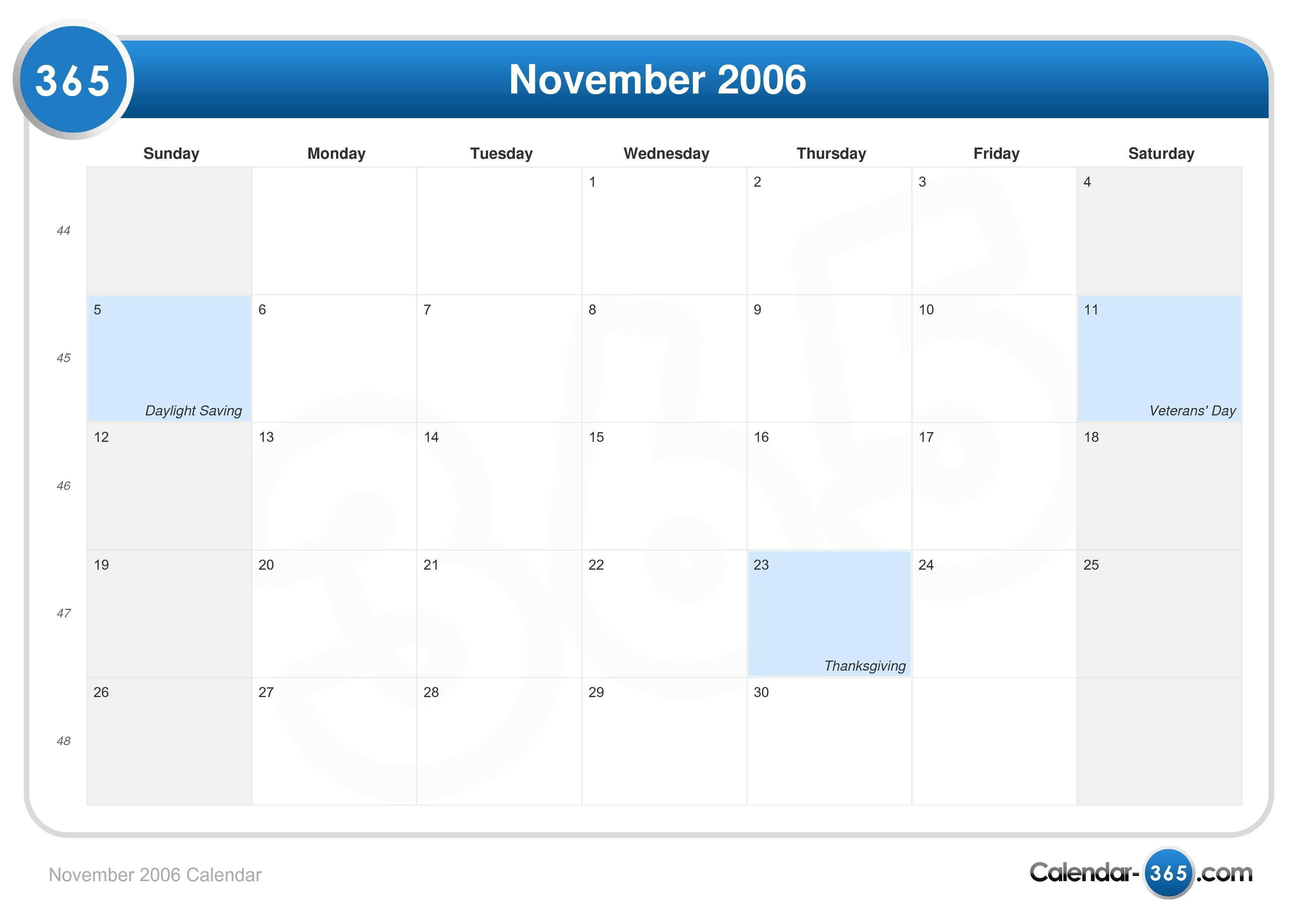 November 2006 Calendar