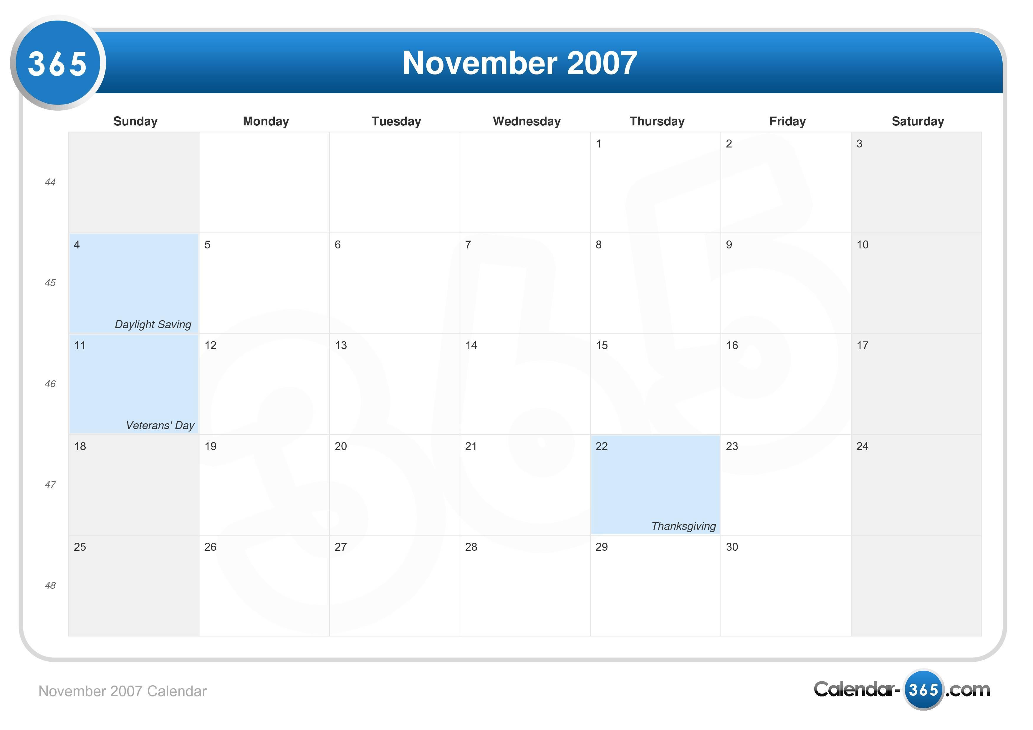 November 2007 Calendar