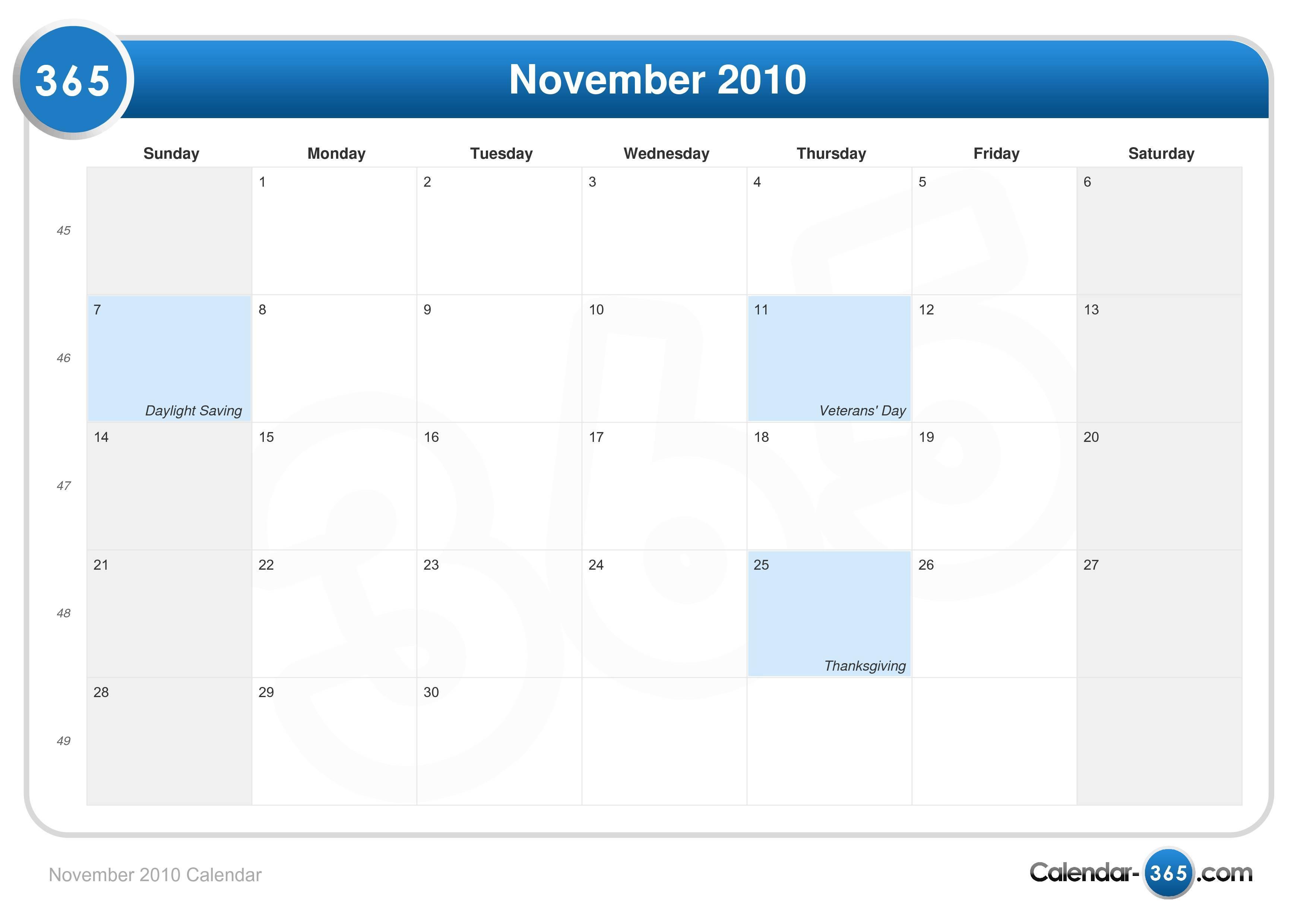 November 2010 Calendar