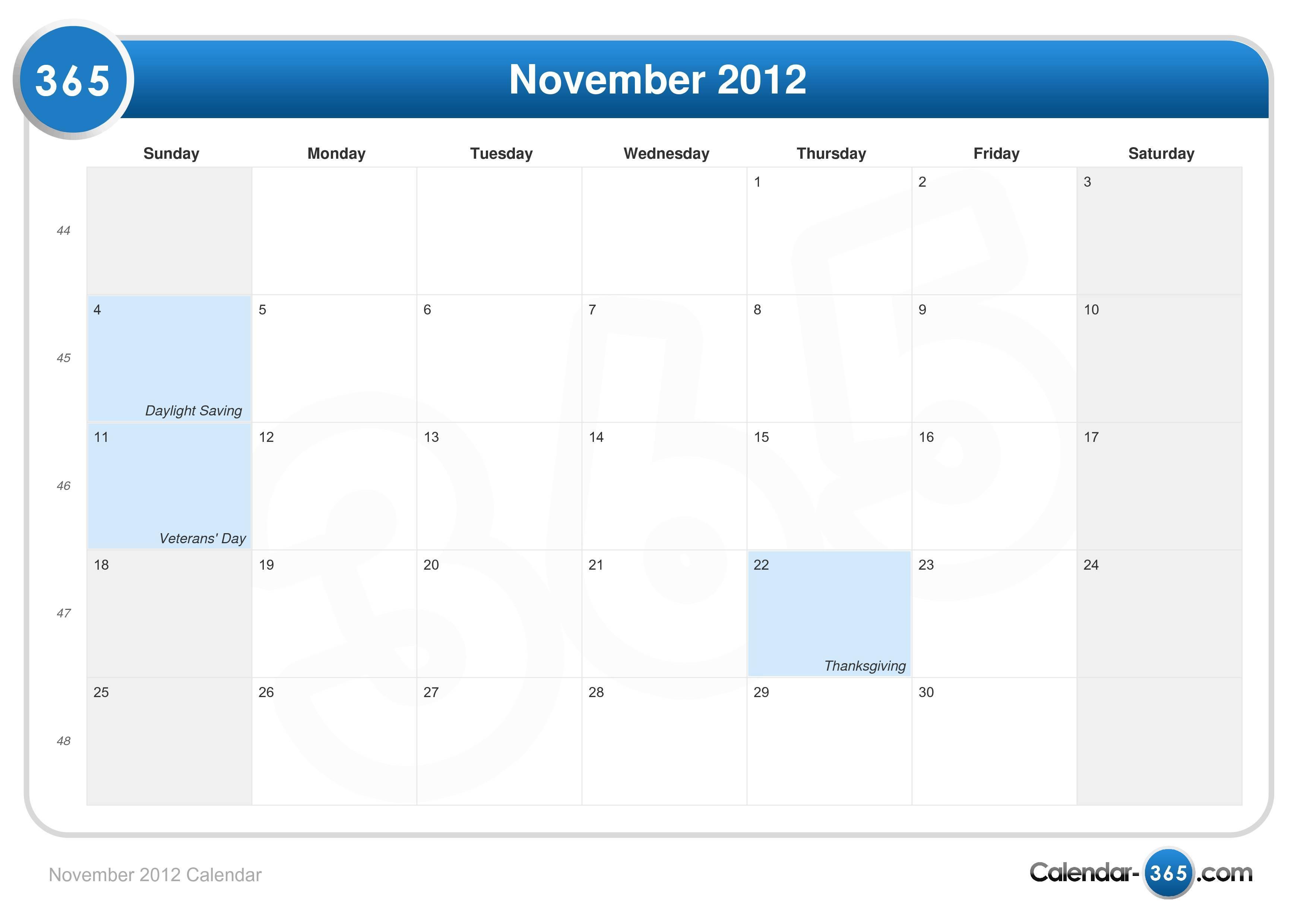November Calendar 2012 : November calendar