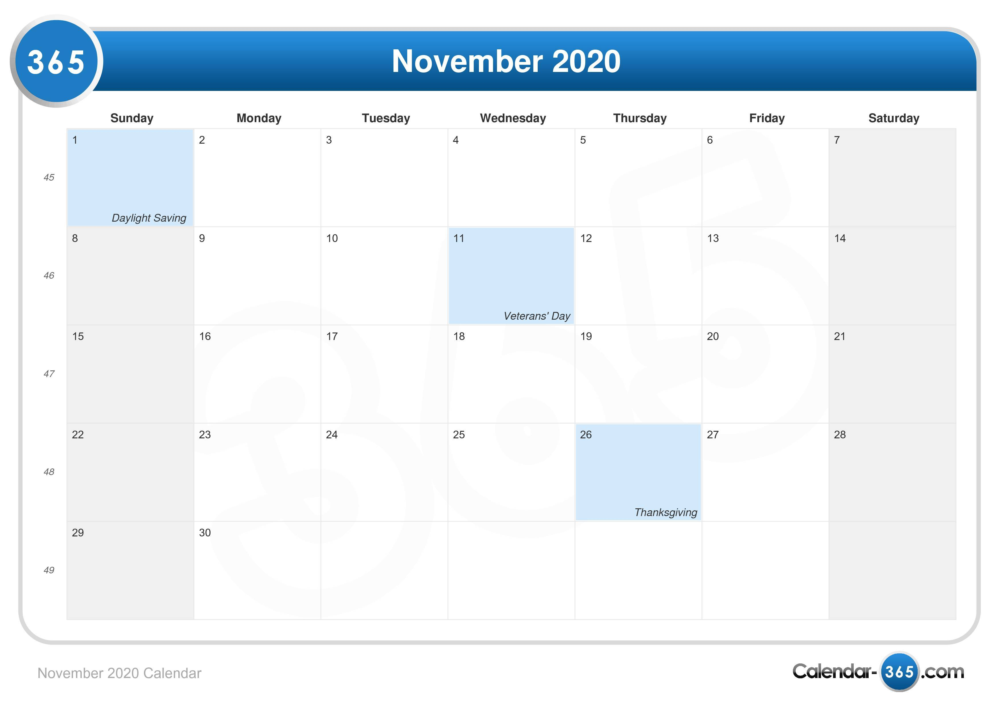 November 2020 Calendar With Holidays November 2020 Calendar