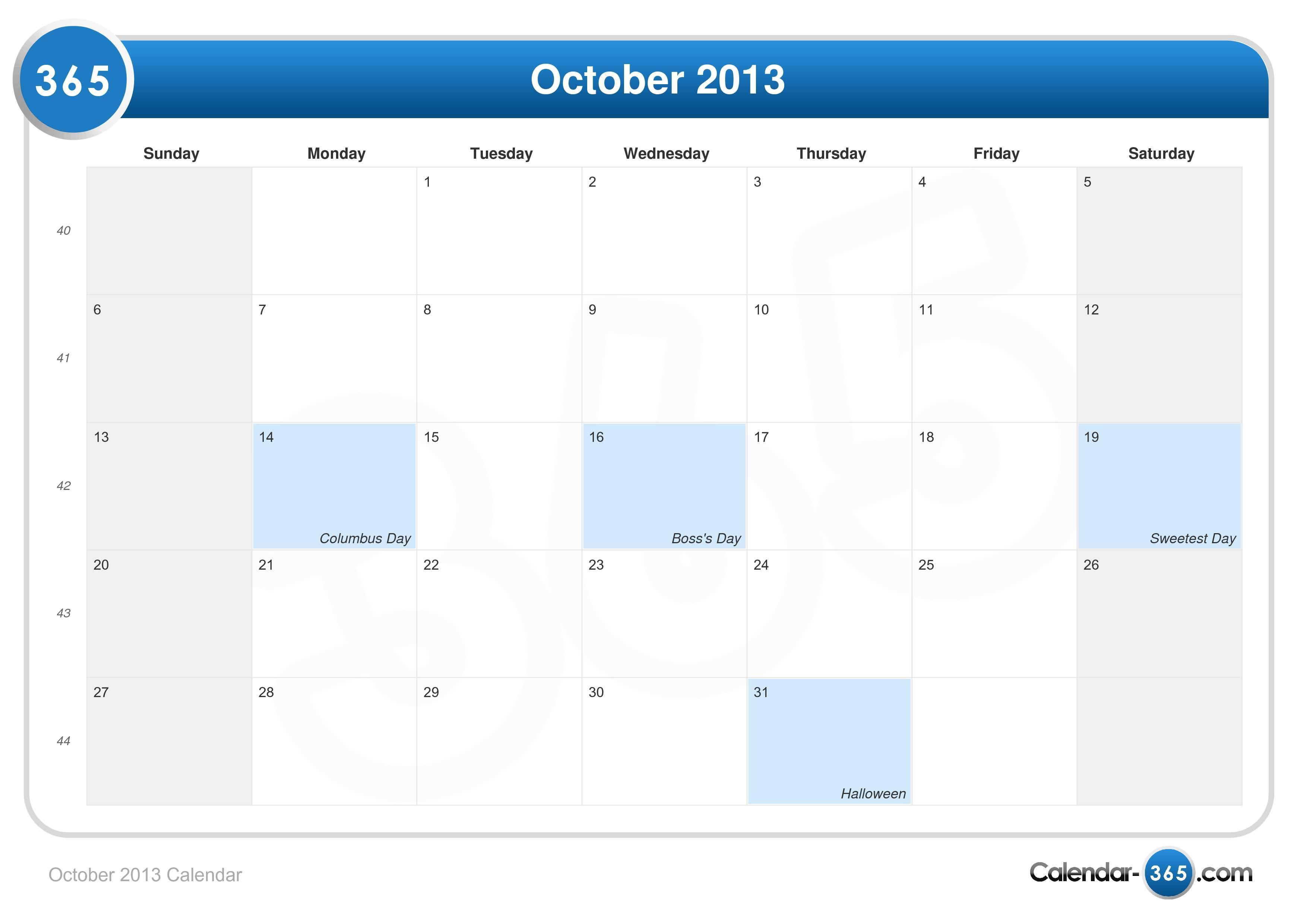 October Calendar 2013 : October calendar