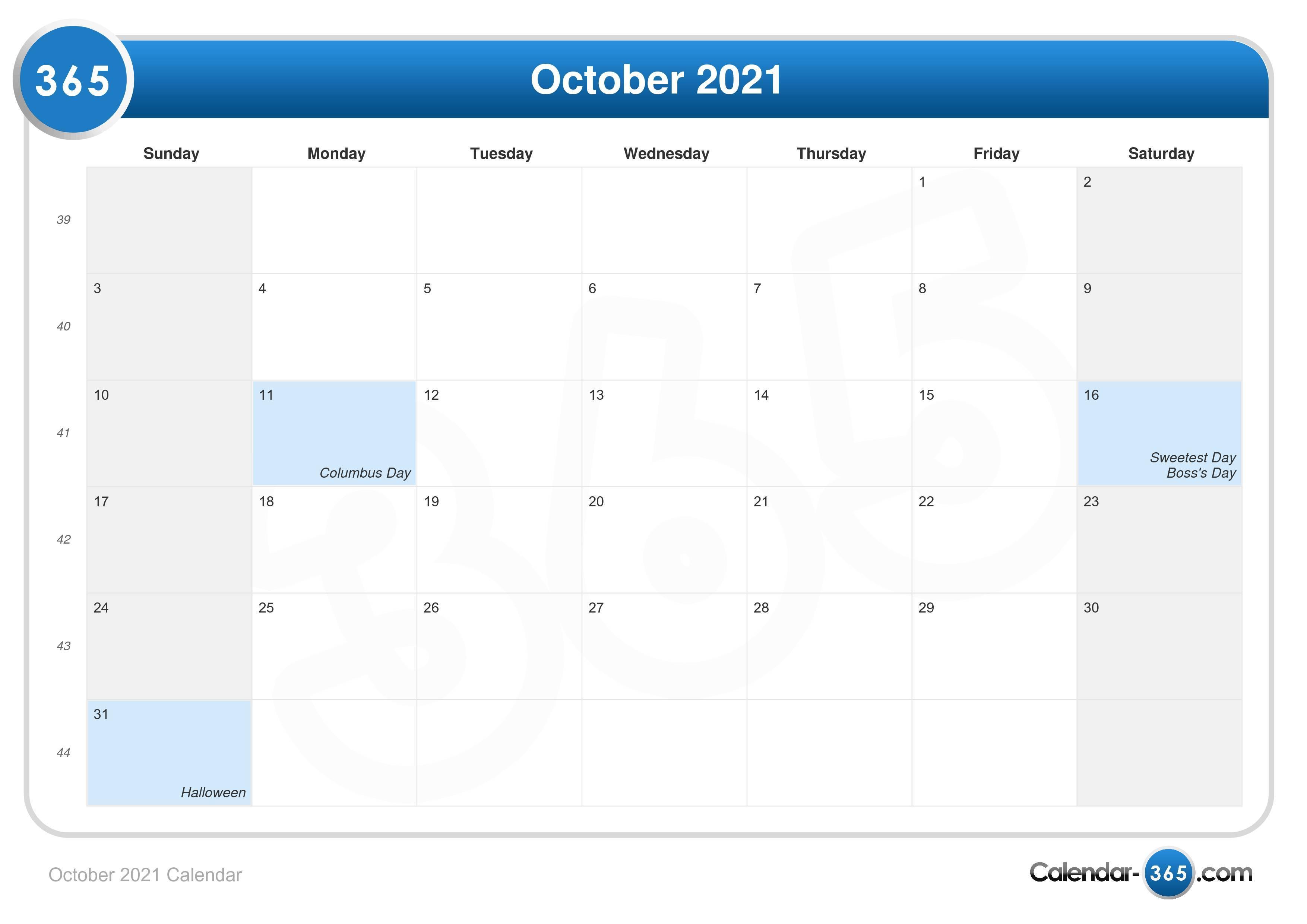 Halloween 2021 Calendar October 2021 Calendar